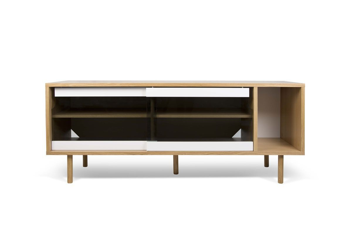 Dann Sideboard Oak Frame, Pure White/glass Doors, Oak Feet Throughout Joyner Sideboards (Image 8 of 30)