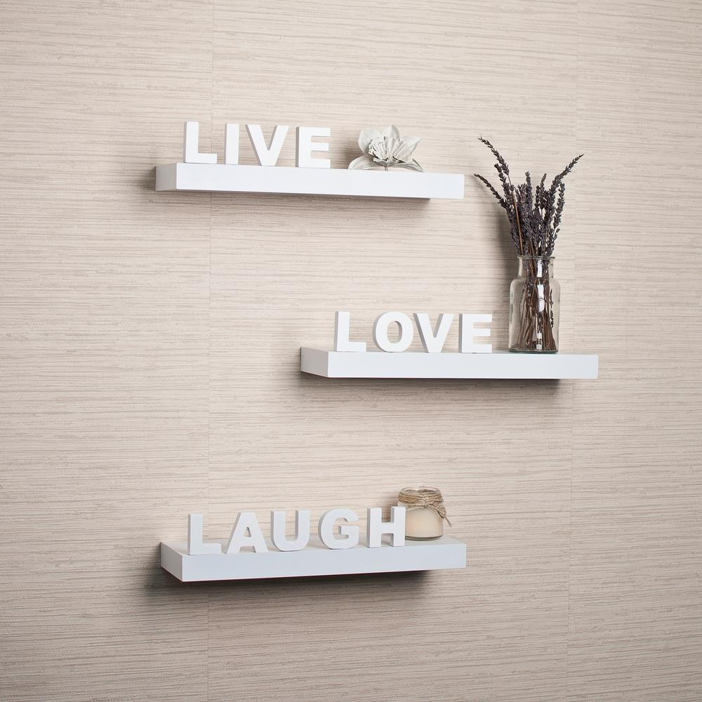 "Danya B 15 In. X 3.25 In White Decorative """"live"""" """"love For Live Love Laugh 3 Piece Black Wall Decor Sets (Photo 15 of 30)"