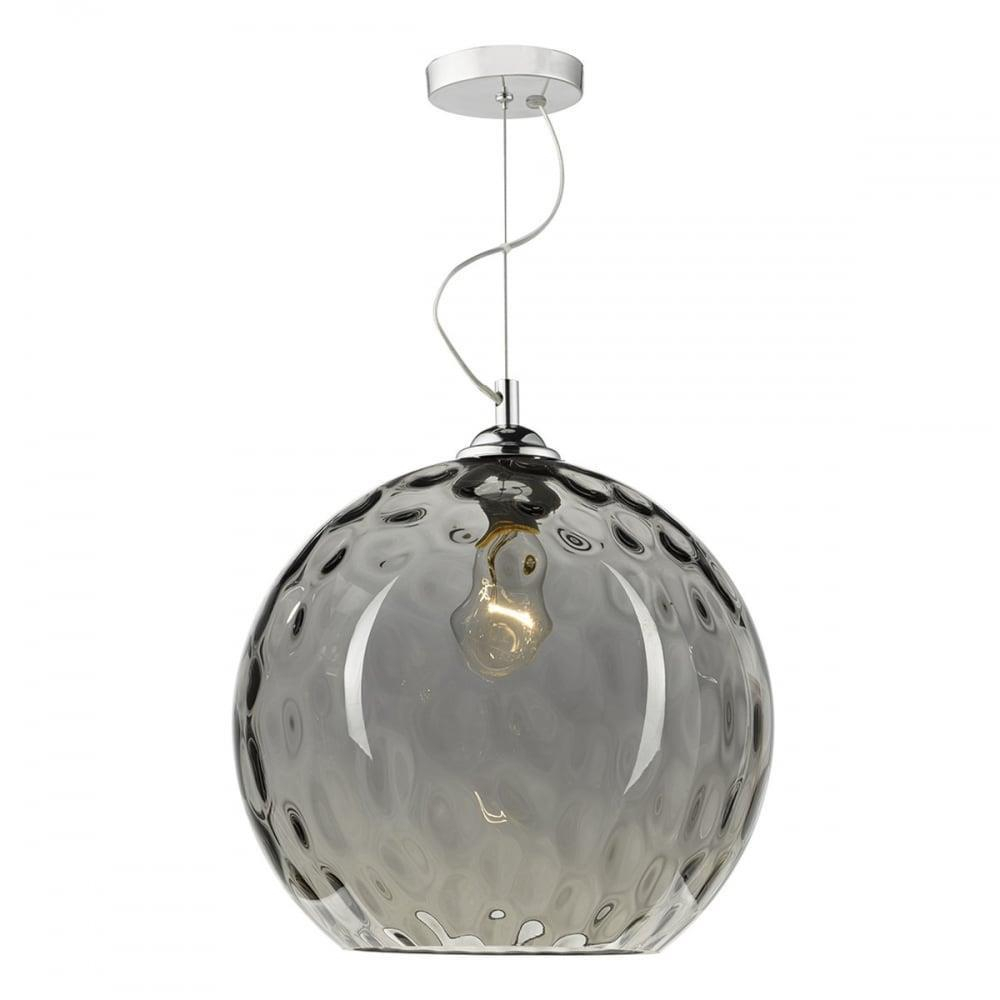 Dar Lighting Aulax 1 Light Pendant Silver Smoked Glass With Dimple Effect Regarding Demi 1 Light Globe Pendants (Photo 17 of 30)
