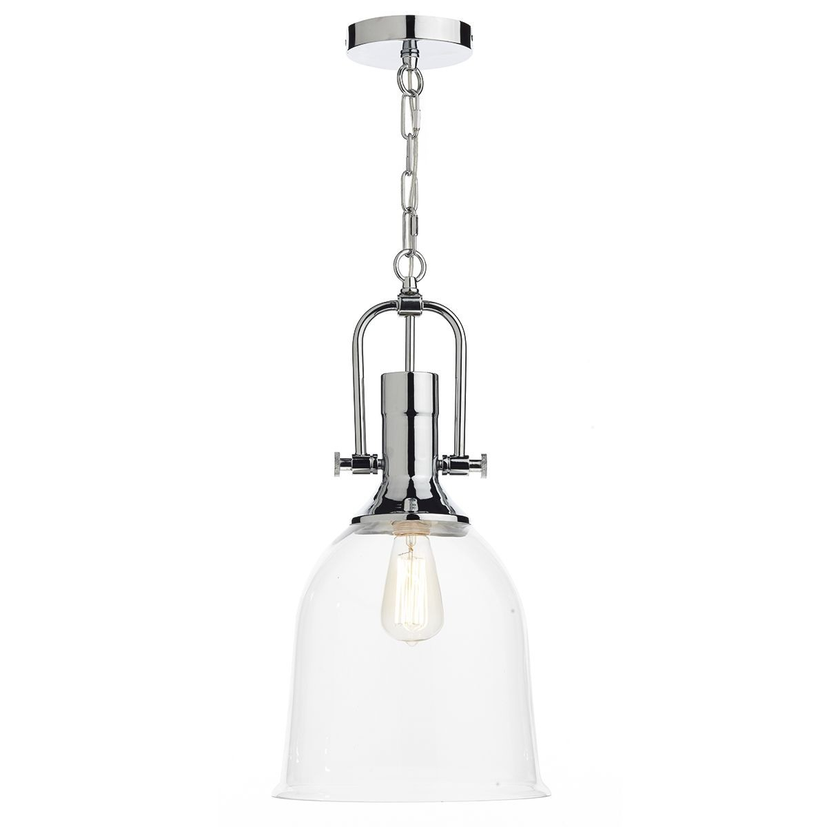 Dar Nolan 1 Light Pendant Polished Chrome Throughout Nolan 1 Light Lantern Chandeliers (Gallery 4 of 30)