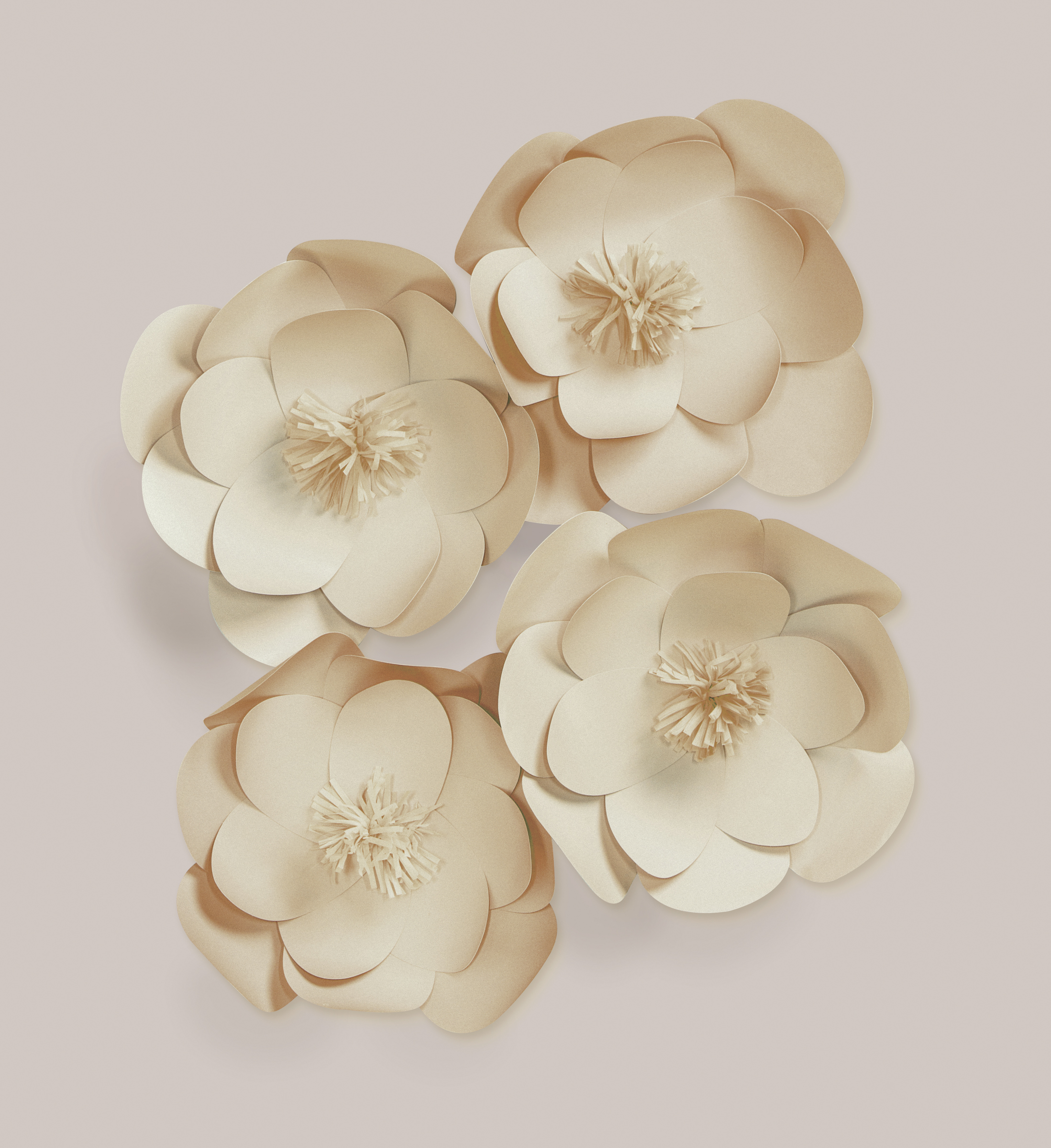 Darice Natural Paper Flower Wall Decor Kit, Assorted Sizes, 4Ct Pertaining To Flower Wall Decor (Gallery 18 of 30)