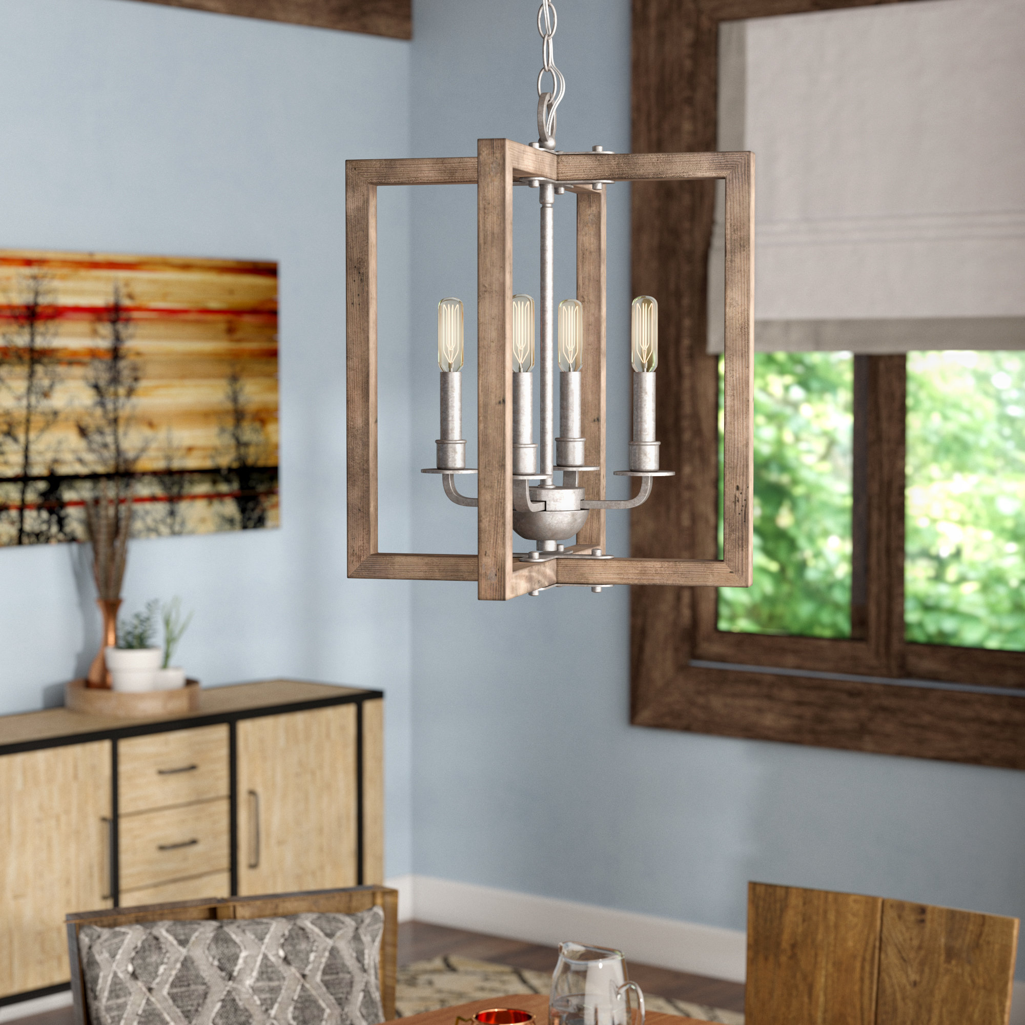 Daugherty 4 Light Square/rectangle Chandelier For Kaycee 4 Light Geometric Chandeliers (Gallery 30 of 30)