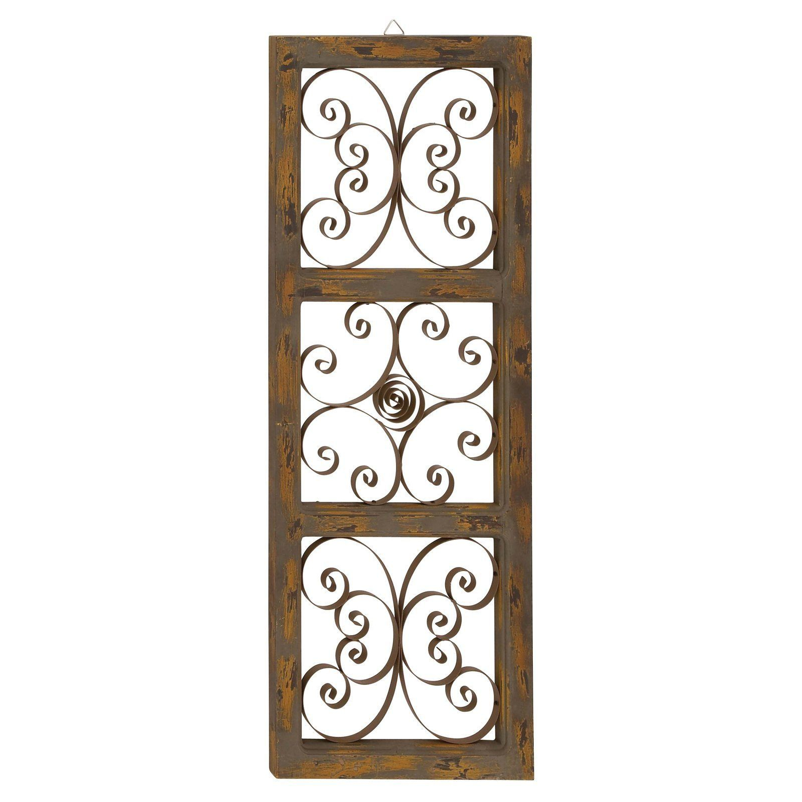 Decmode 14W X 36H In. Farmhouse Wood And Iron Band Wall for 1 Piece Ortie Panel Wall Decor (Image 10 of 30)