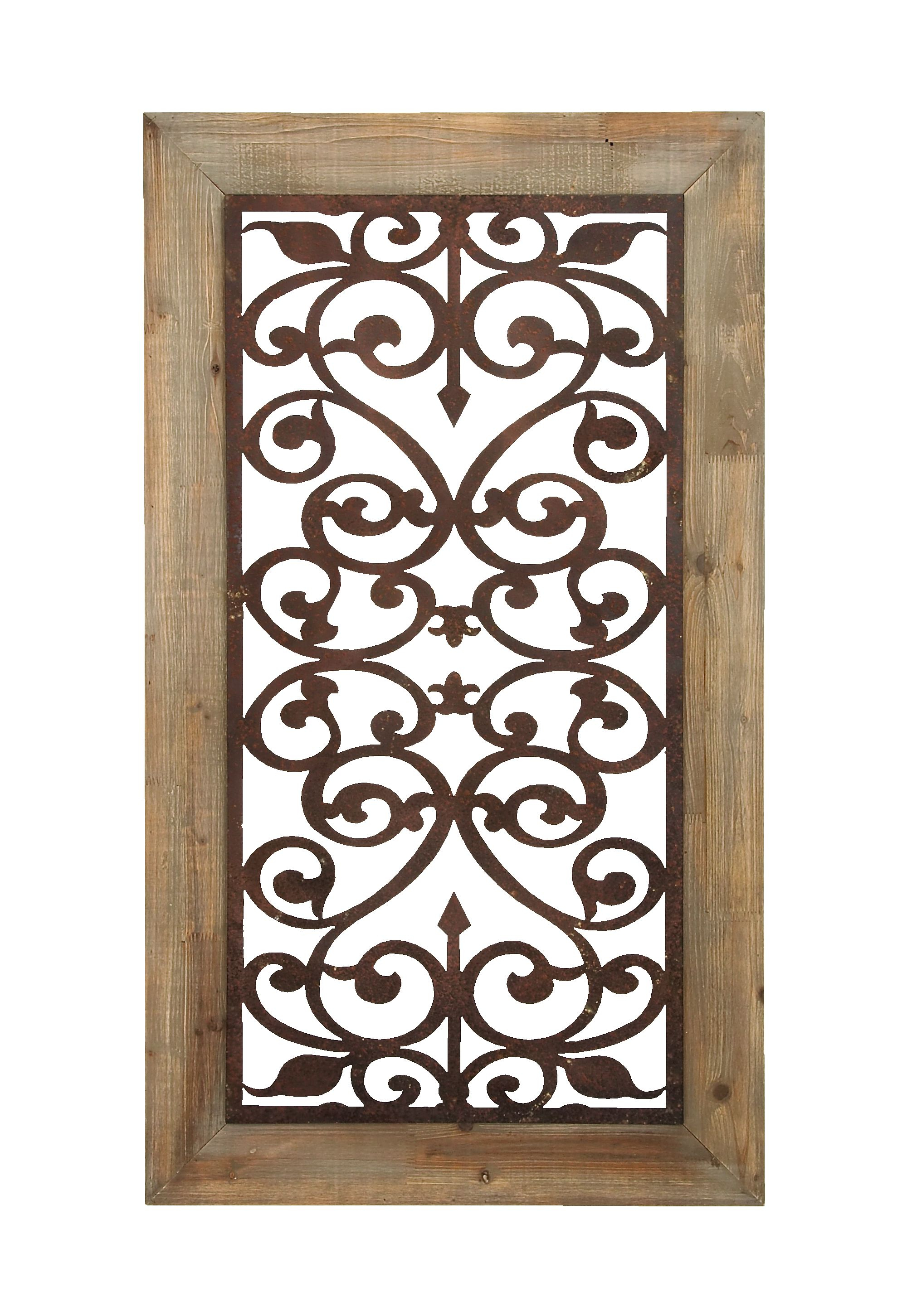 """Decmode 26"""" X 46"""" Distressed Wood & Brown Metal Wall Art Panel W/ Scroll Design Throughout Scroll Panel Wall Decor (View 7 of 30)"""