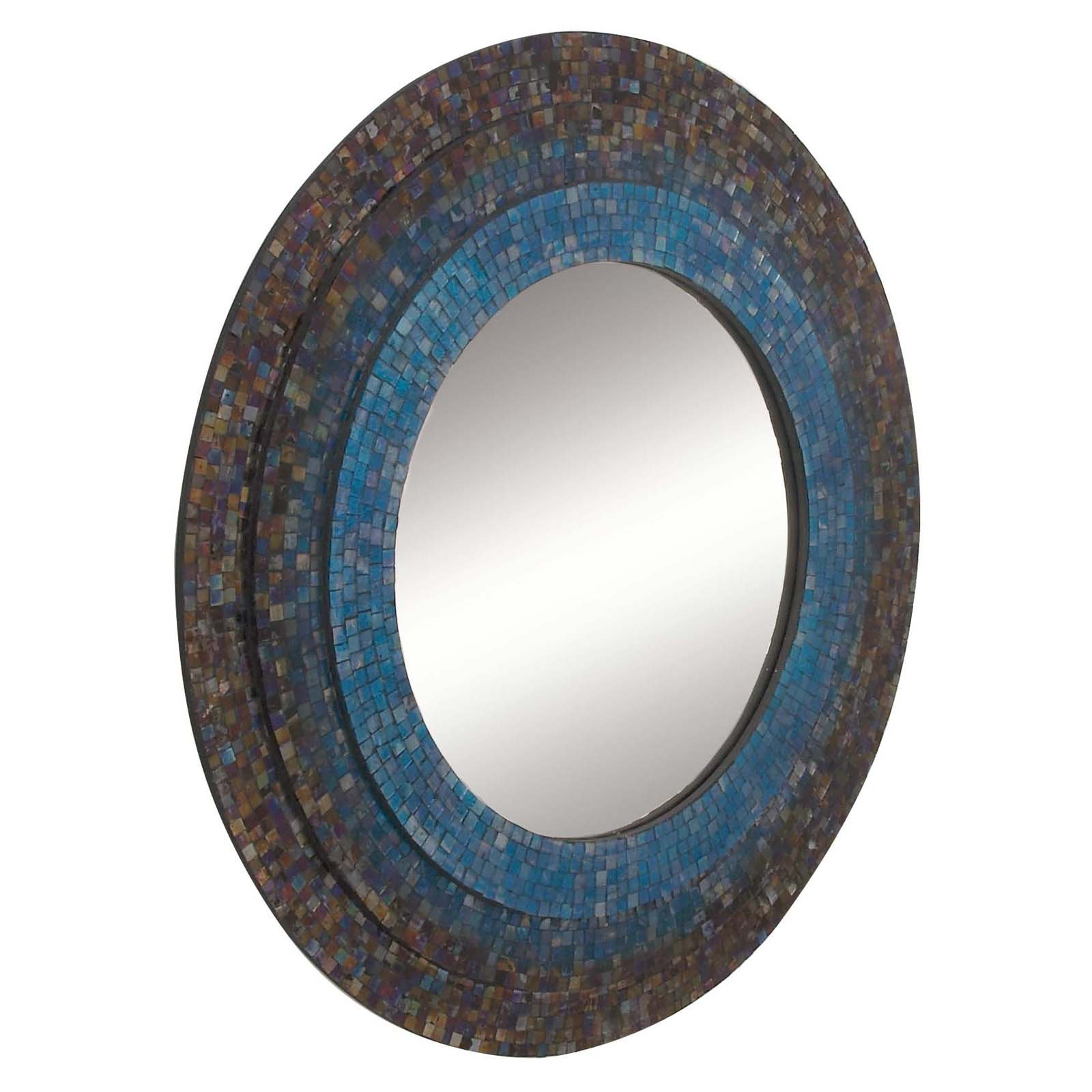 Decmode 30 Inch Eclectic Iron And Wood Mosaic Wall Mirror, Multi Within Round Eclectic Accent Mirrors (Gallery 26 of 30)