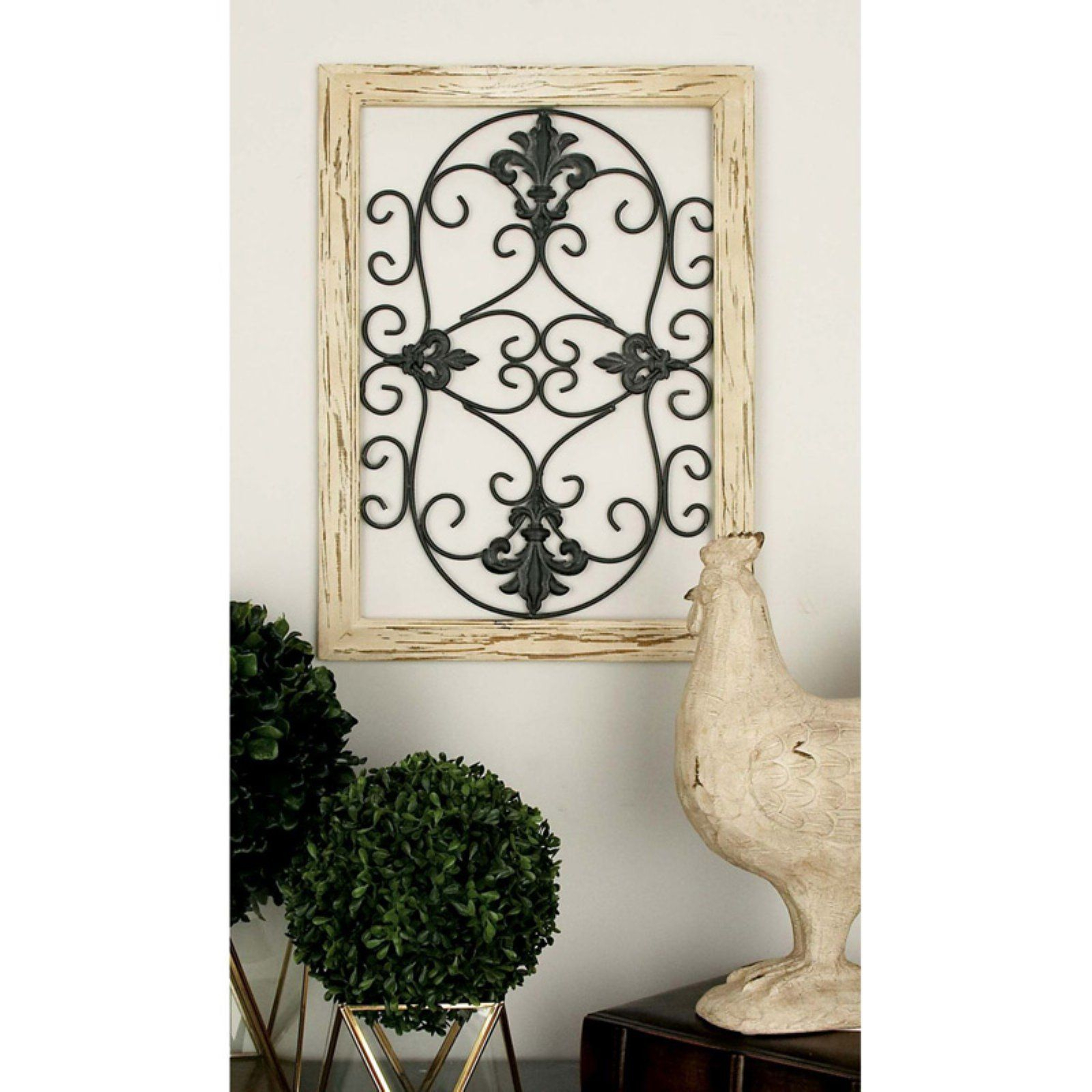 Decmode 32 In. Wooden Wall Panel   Set Of 2 | Products In For 2 Piece Metal Wall Decor Sets By Fleur De Lis Living (Photo 6 of 30)