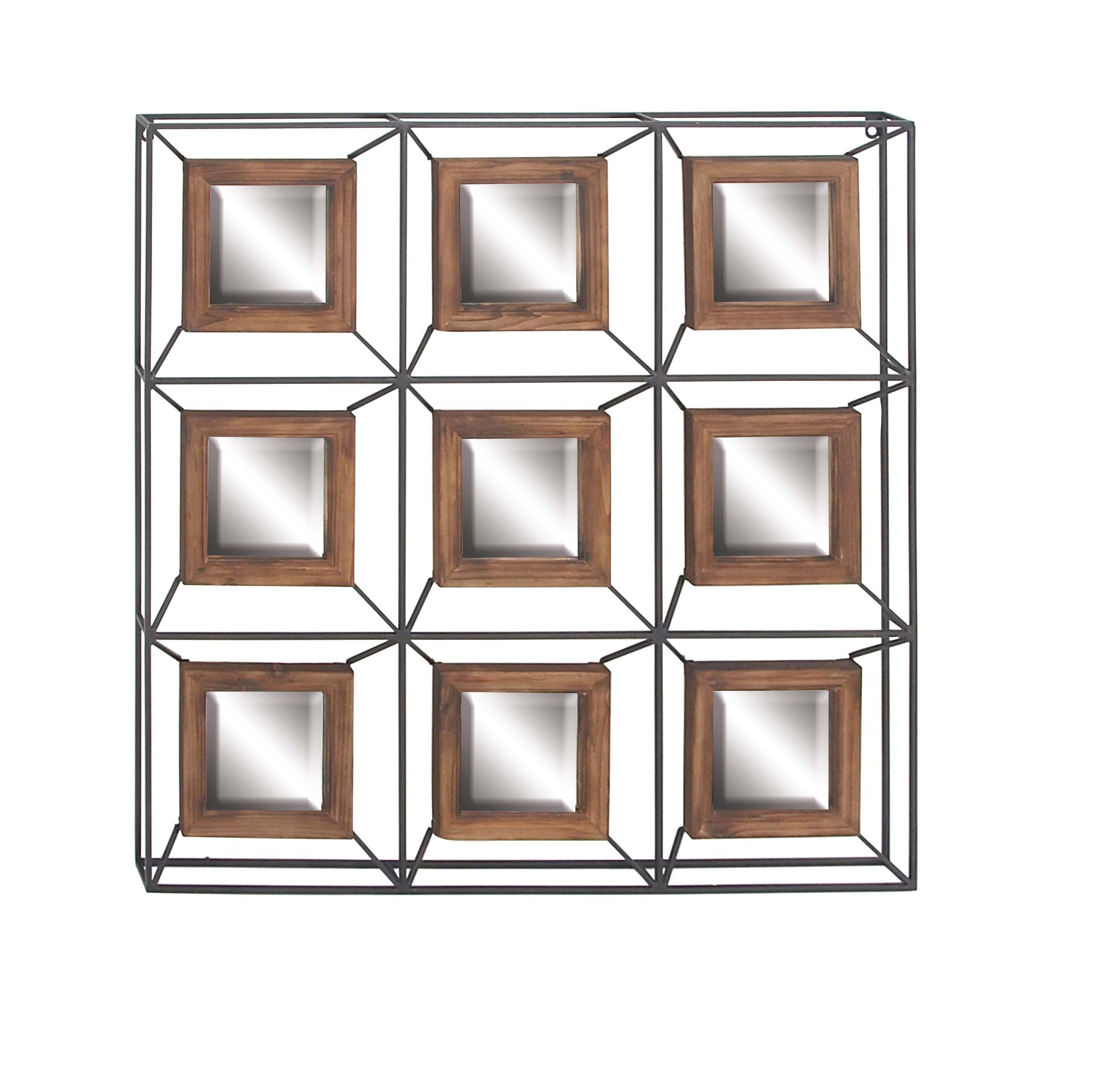 Decmode Contemporary Metal And Fir Wood Grid Wall Mirror, Gray With Traditional Square Glass Wall Mirrors (Gallery 17 of 30)