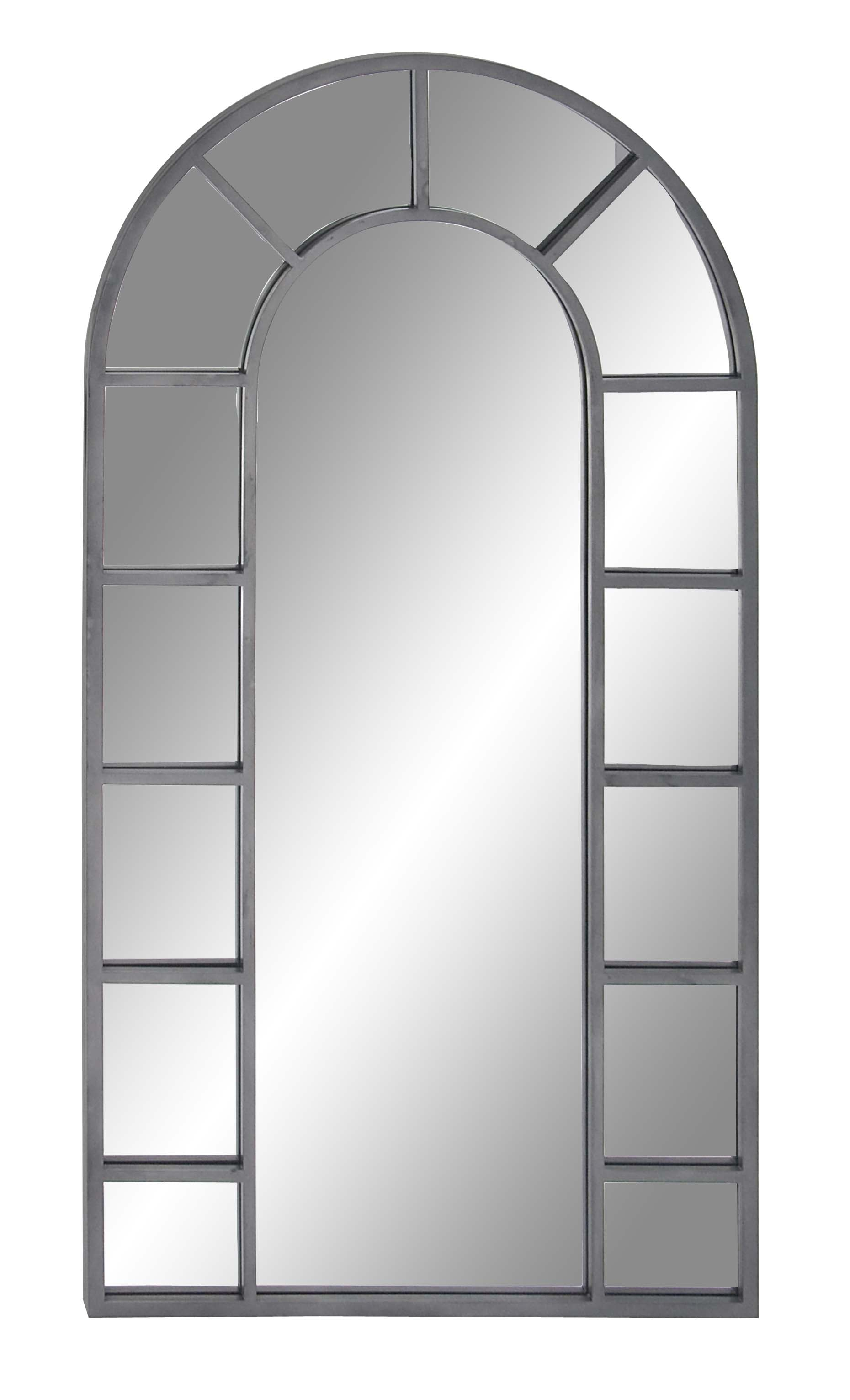 Decmode Contemporary Wood And Metal Arched Black Wall Mirror, Black With Regard To Arch Vertical Wall Mirrors (Gallery 28 of 30)