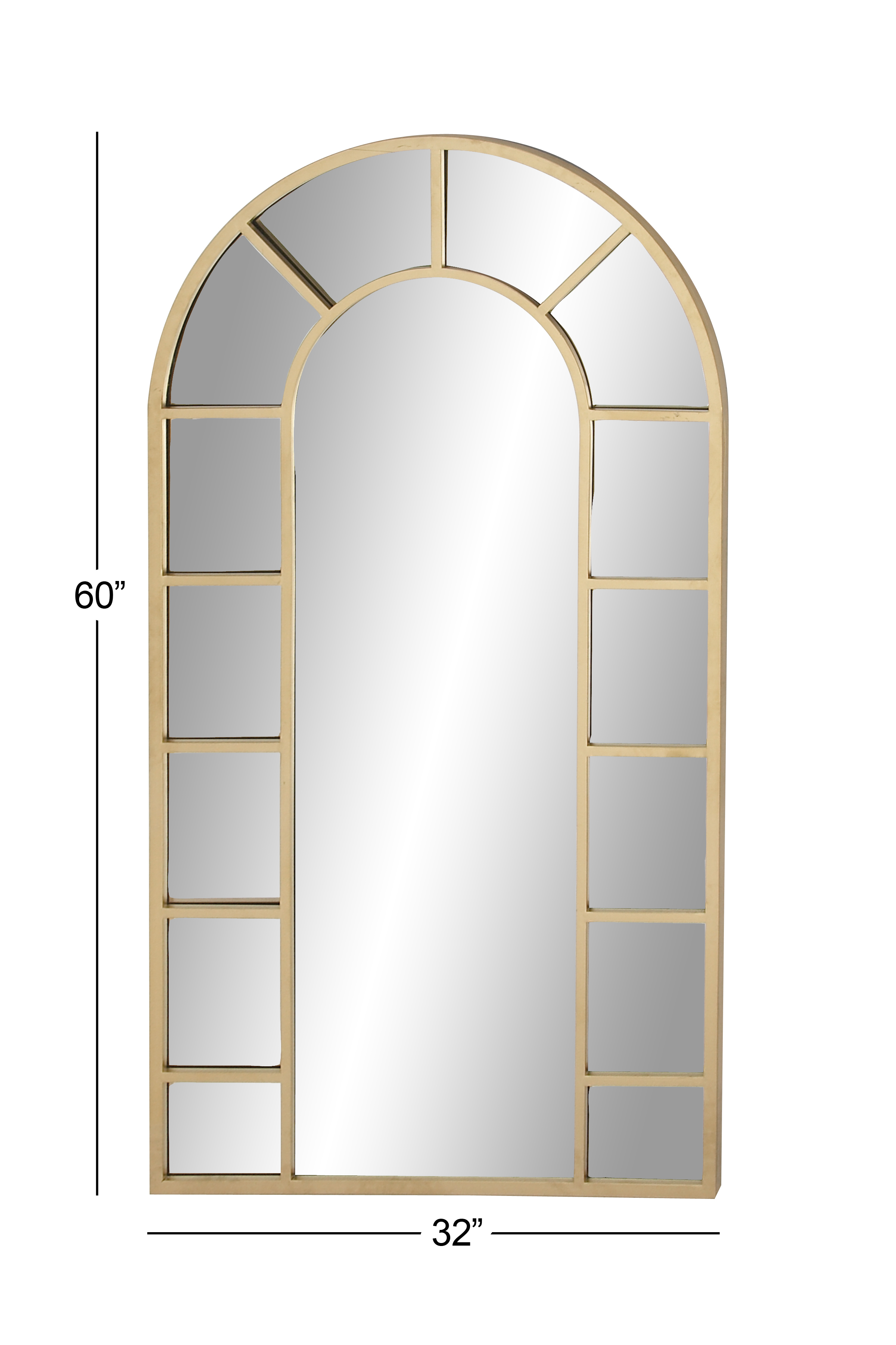 Decmode Contemporary Wood And Metal Arched Gold Wall Mirror, Gold in Arch Vertical Wall Mirrors (Image 15 of 30)