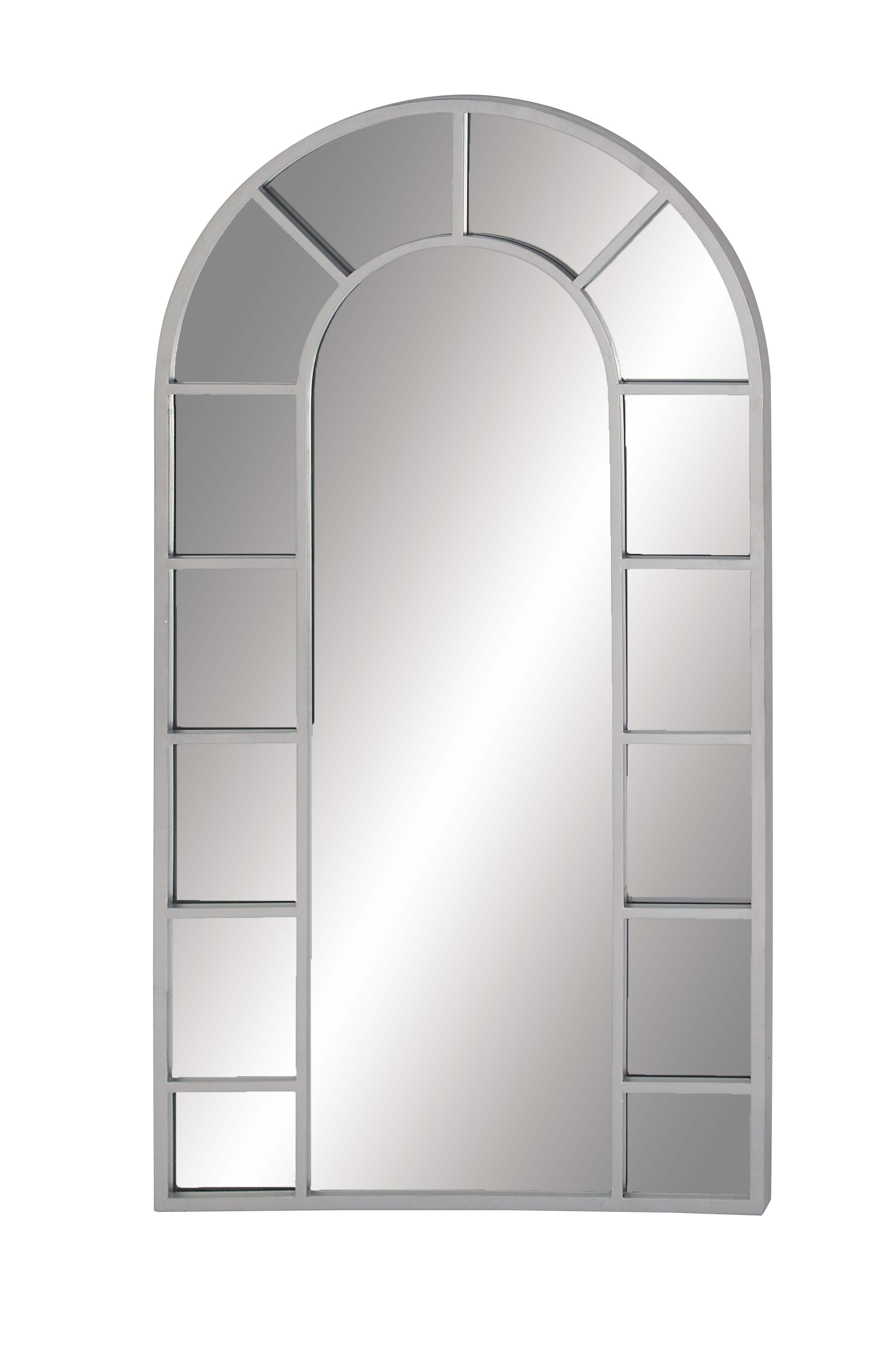 Decmode Contemporary Wood And Metal Arched White Wall Mirror, White Intended For Arch Vertical Wall Mirrors (Photo 13 of 30)
