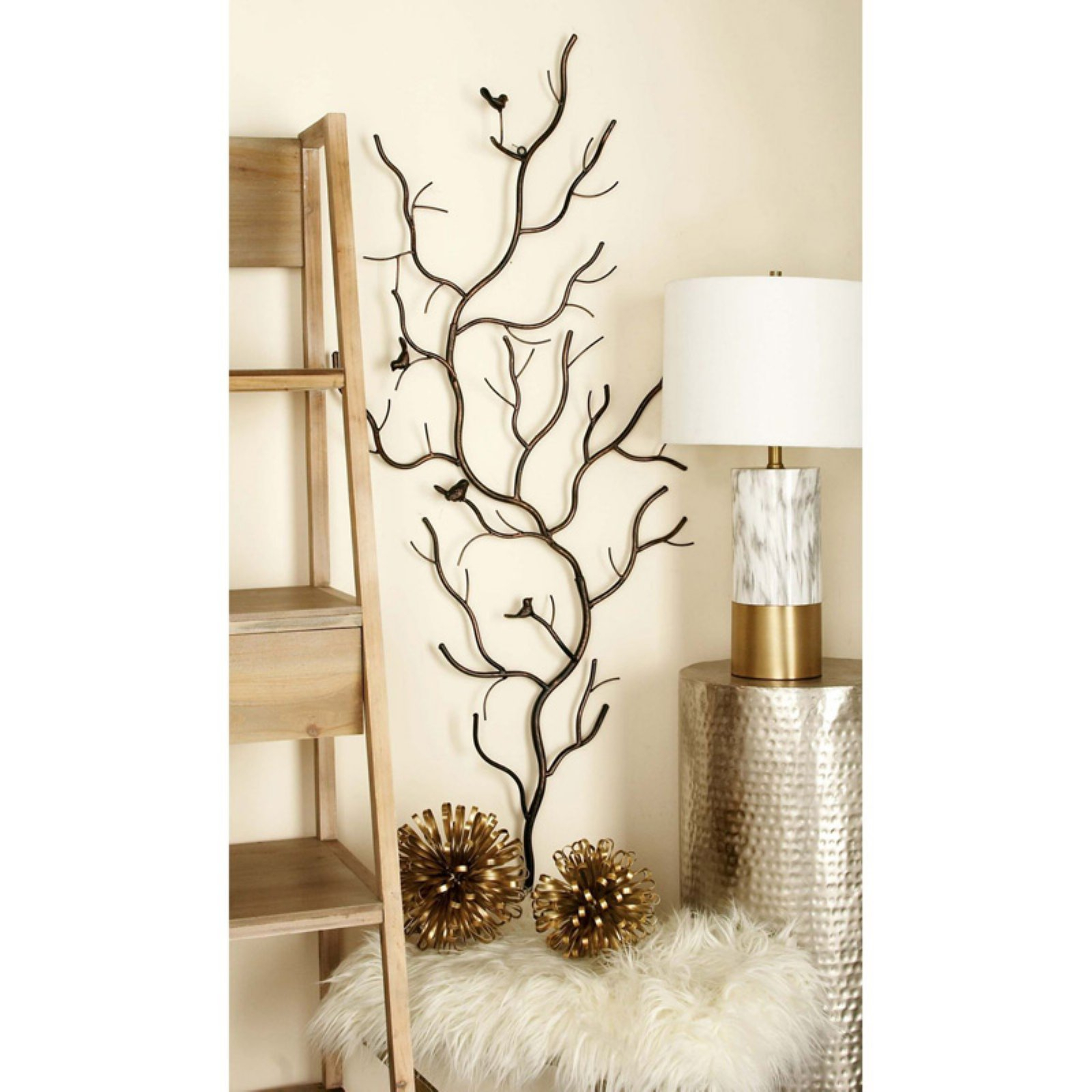 Decmode Metal Wall Sculpture – Branch & Birds | Products In For Leaves Metal Sculpture Wall Decor By Winston Porter (View 11 of 30)