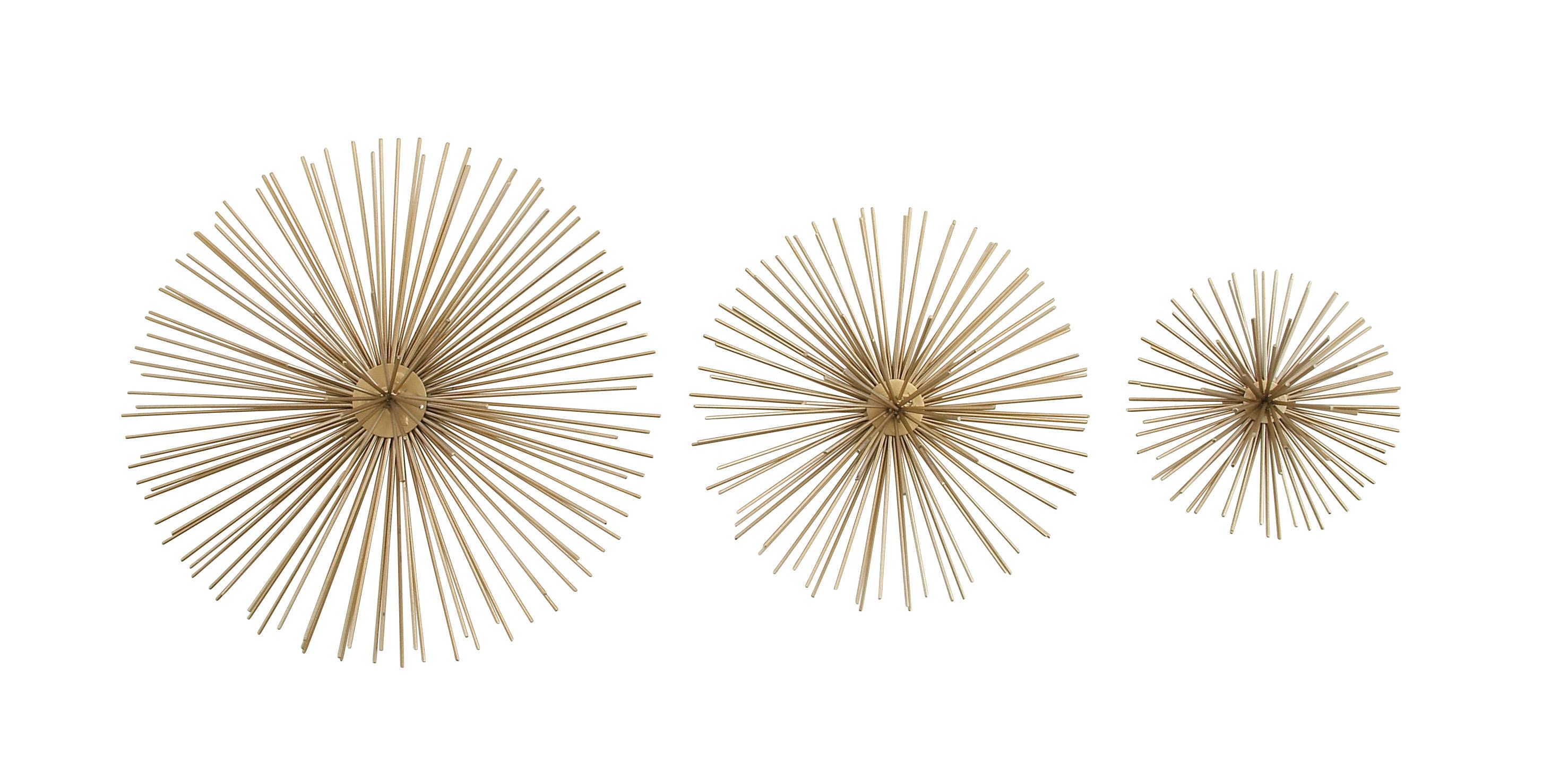 Decmode Metallic Gold Starburst Modern Metal Wall Décor | Set Of 3 regarding Set of 3 Contemporary 6, 9, and 11 Inch Gold Tin Starburst Sculptures (Image 11 of 30)