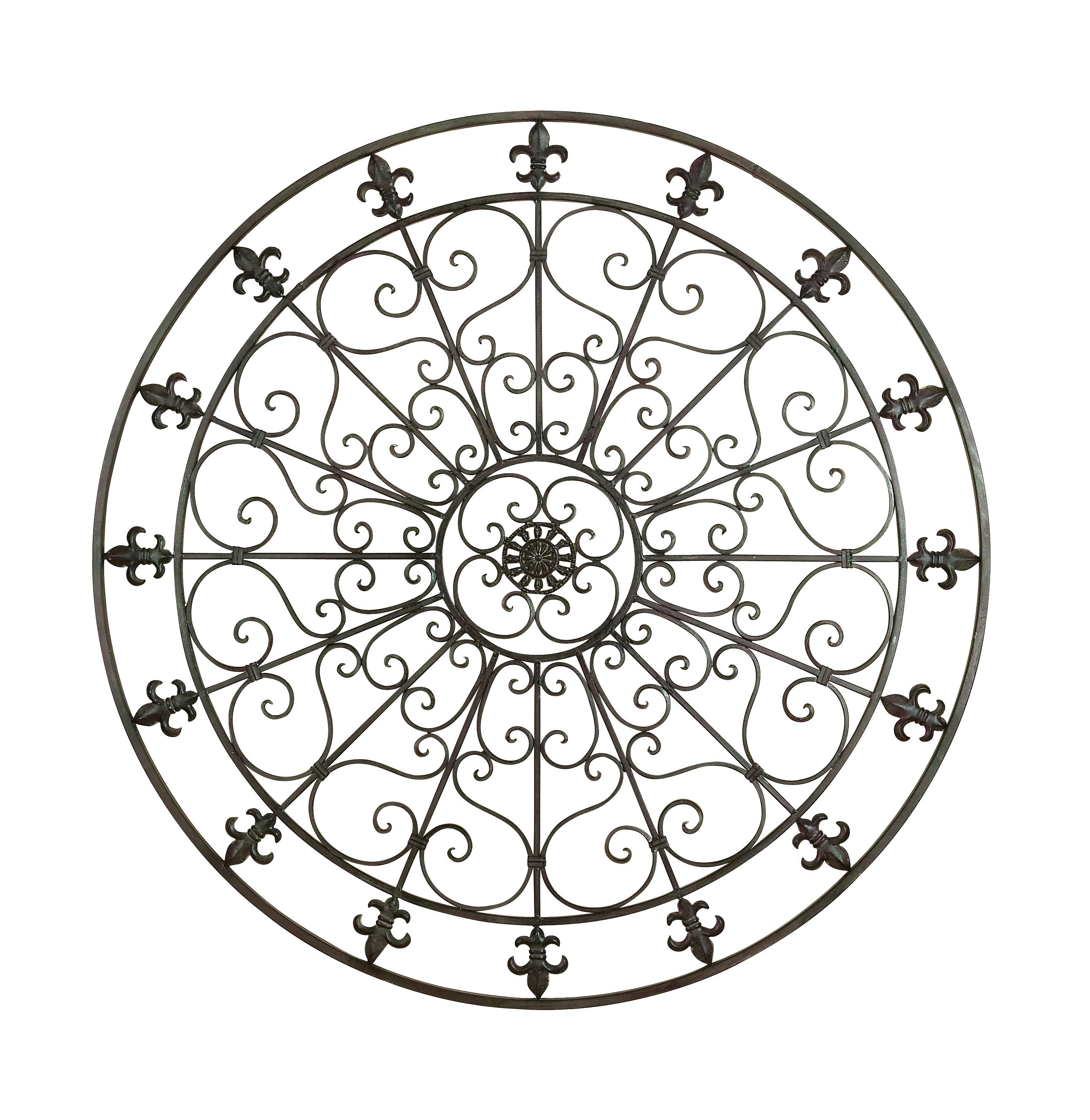 Decmode Rustic 42 Inch Fleur De Lis And Scrollwork Round Metal Wall Decor With 2 Piece Metal Wall Decor Sets By Fleur De Lis Living (View 23 of 30)