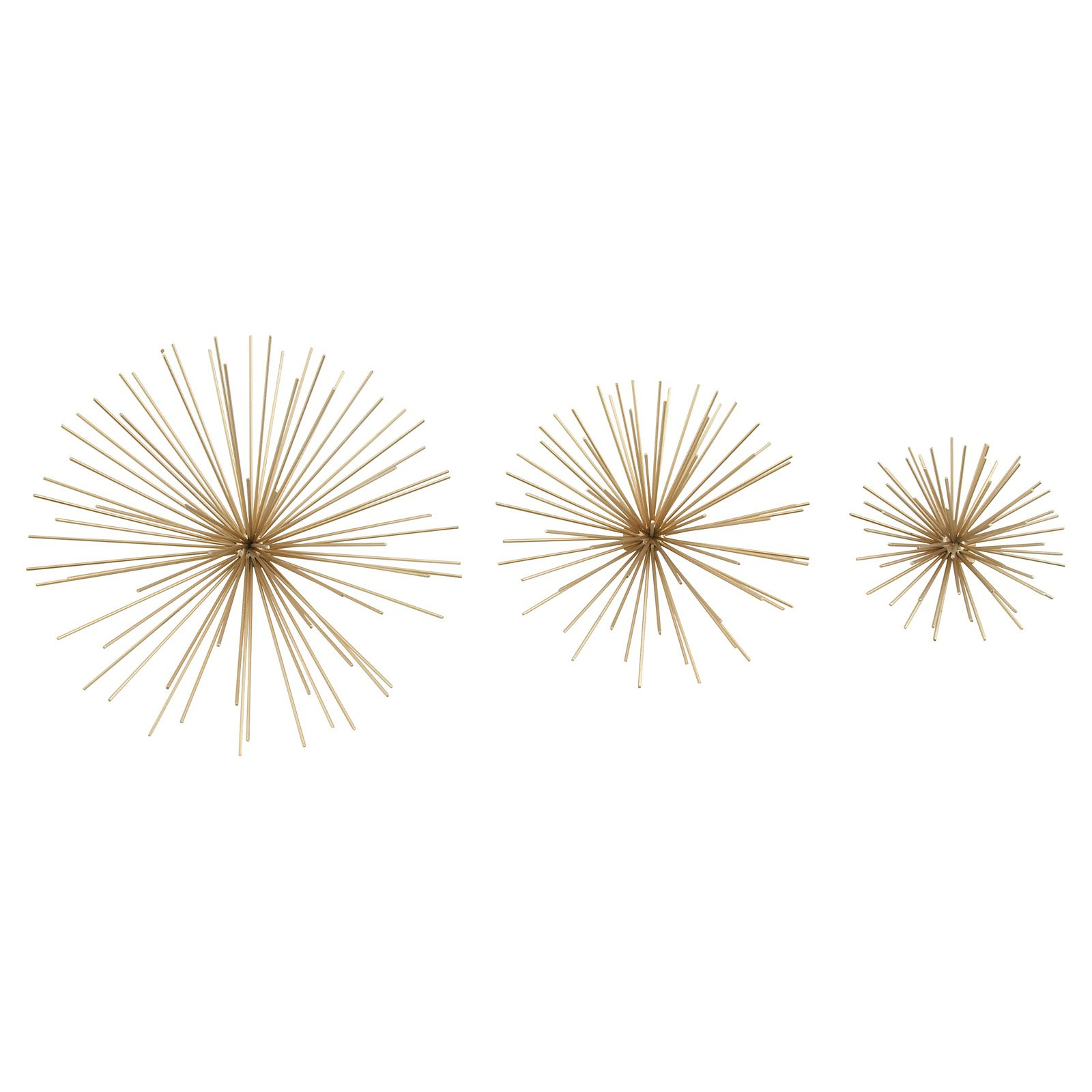 Decmode Set Of Three – 6, 9, And 11 Inch Modern Golden Iron Star Wall Décor, Gold For Set Of 3 Contemporary 6, 9, And 11 Inch Gold Tin Starburst Sculptures (Gallery 21 of 30)