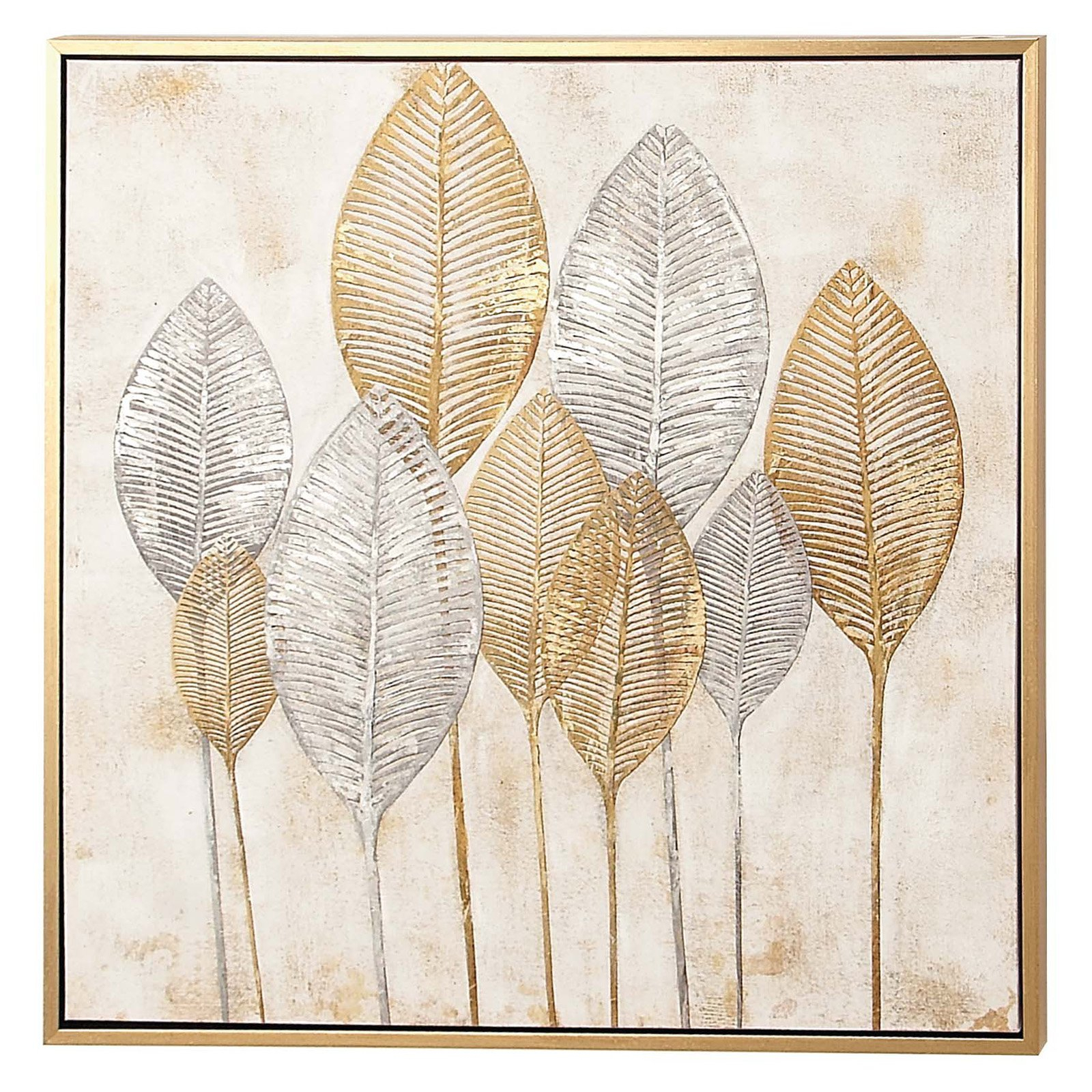 Decmode Square Framed Veined Leaves Wall Art Gold / Silver For Tree Of Life Wall Decor By Red Barrel Studio (View 18 of 30)