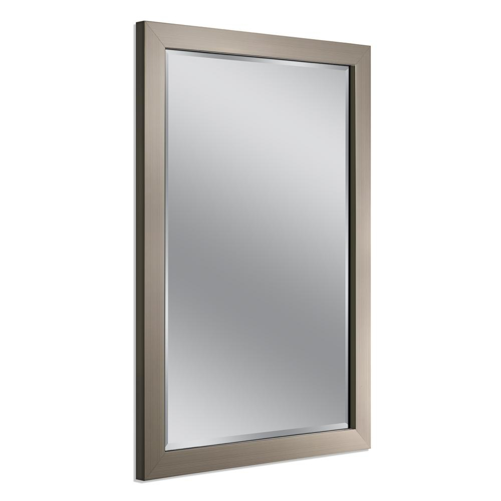 Deco Mirror 40 In. X 28 In. Modern Wall Mirror In Brushed Nickel Intended For Modern & Contemporary Beveled Wall Mirrors (Photo 18 of 30)