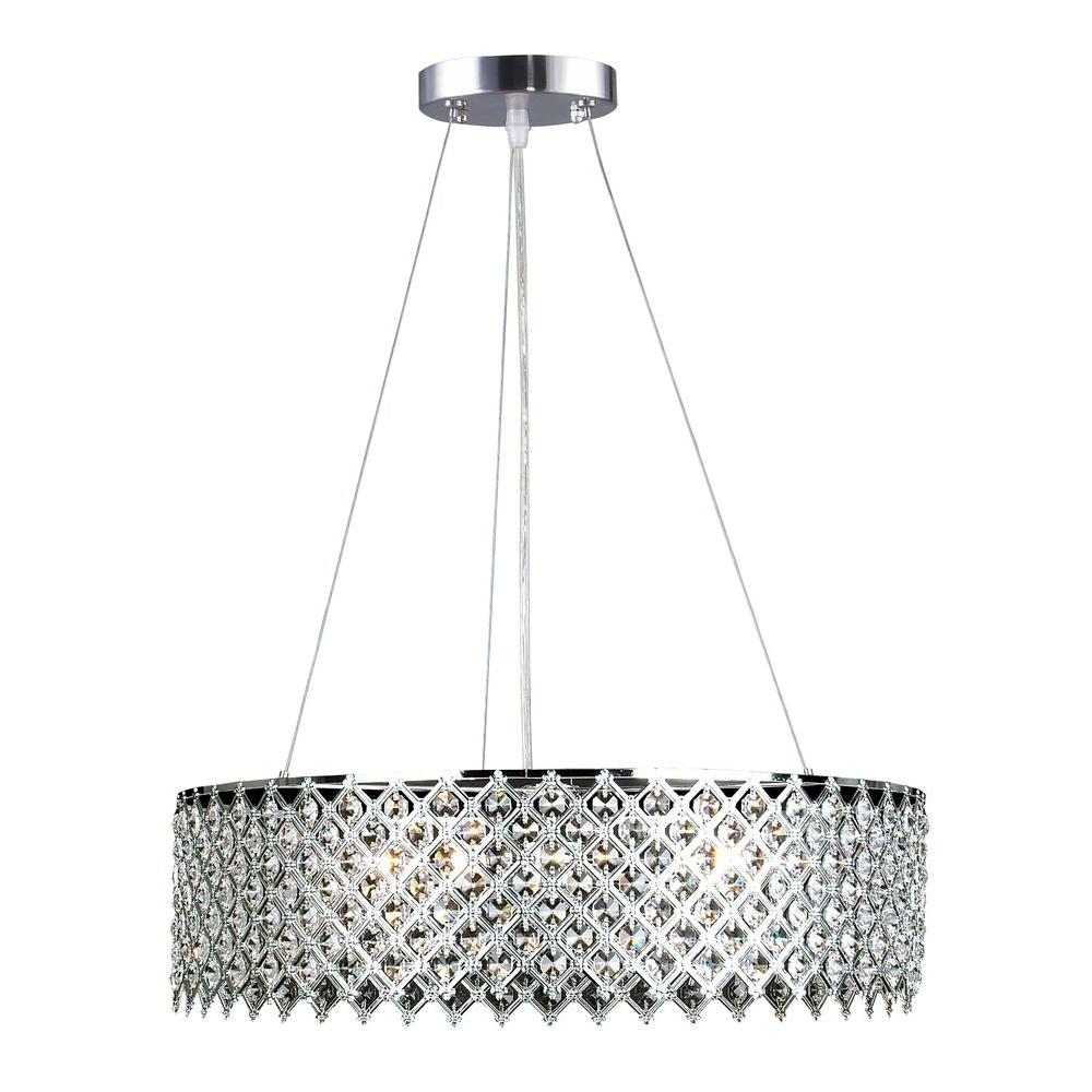 Decor Living 3 Light Crystal And Chrome Chandelier Inside Emaria 3 Light Single Drum Pendants (View 22 of 30)