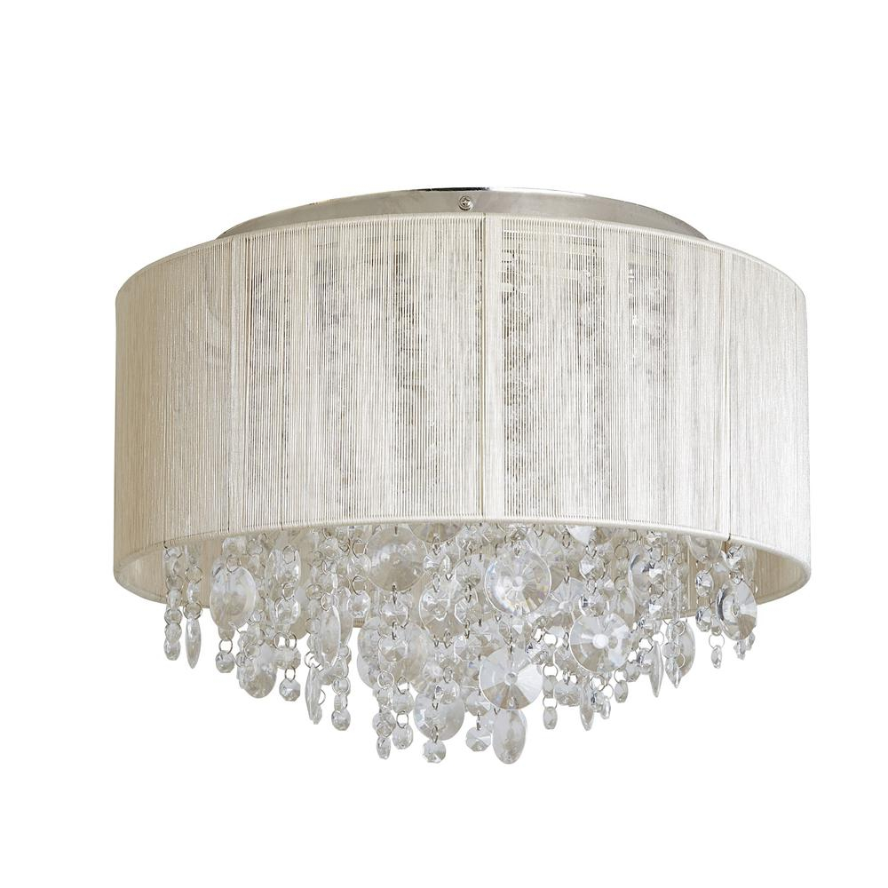 Decor Therapy Serena String Beaded 3 Light Polished Nickel Flush Mount Light Inside Alverez 4 Light Drum Chandeliers (View 13 of 30)