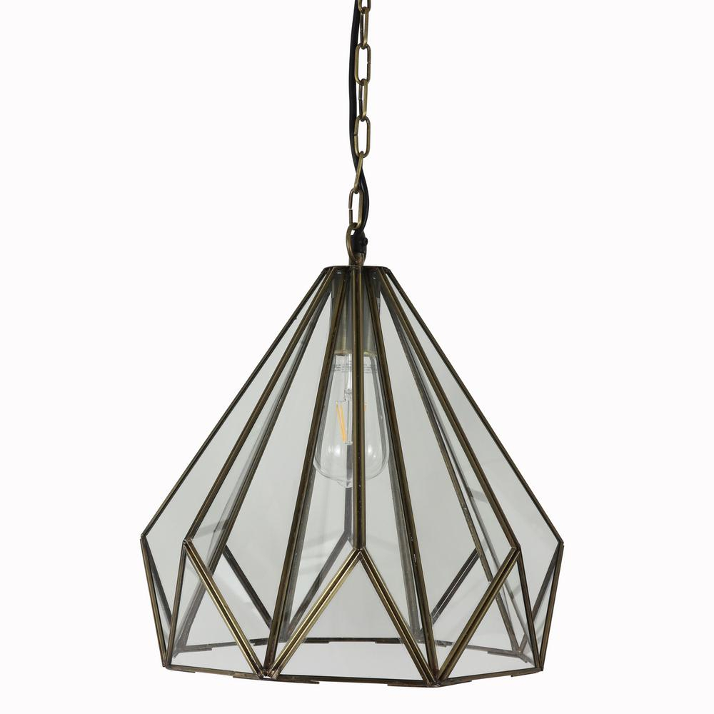 Decor Therapy Tabitha 1 Light Brass And Glass Geometric Pendant Light Inside 1 Light Geometric Globe Pendants (Gallery 30 of 30)