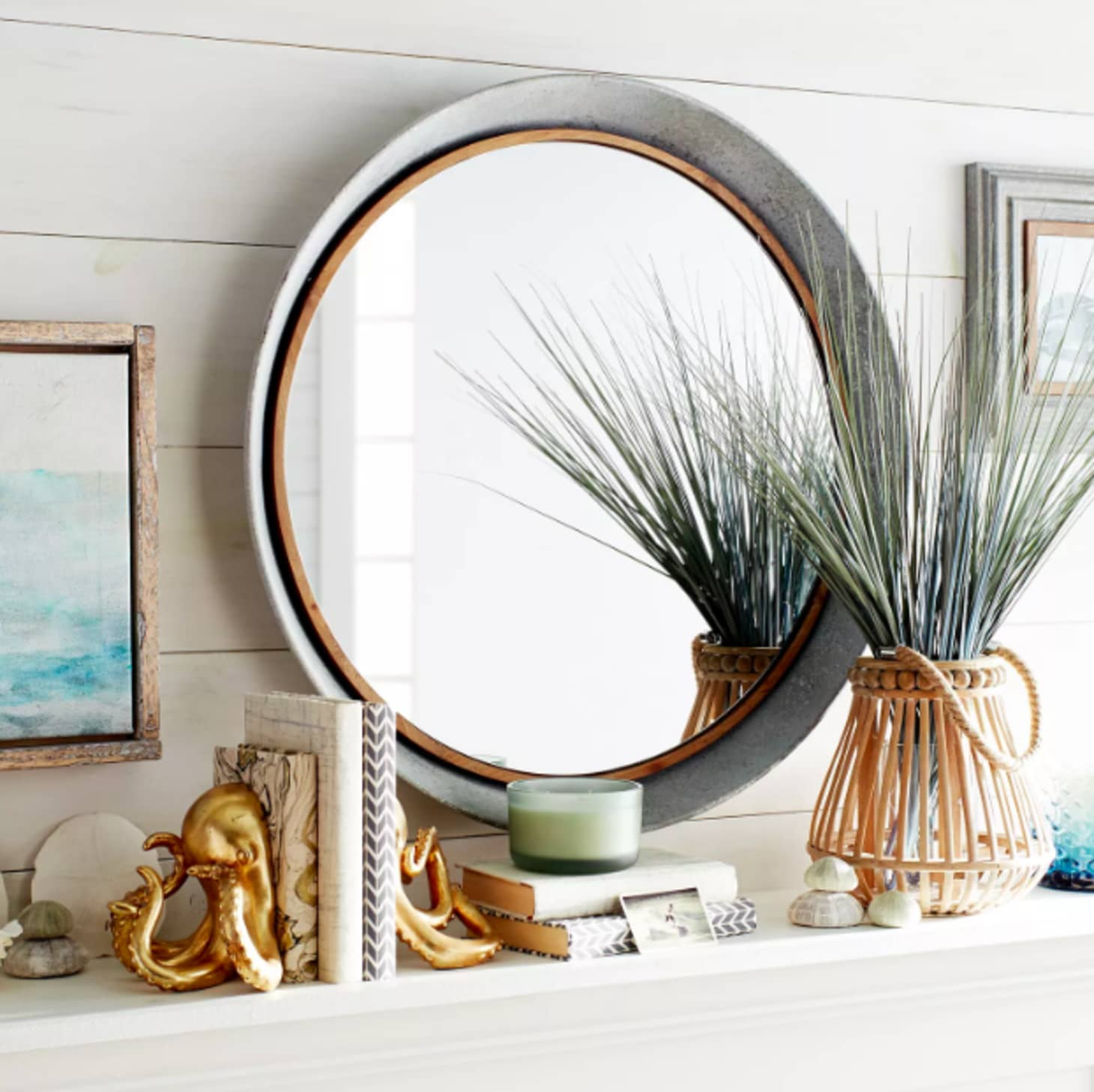 Decorating With Mixed Metals – Metallic Design Trend In Round Galvanized Metallic Wall Mirrors (Gallery 20 of 30)