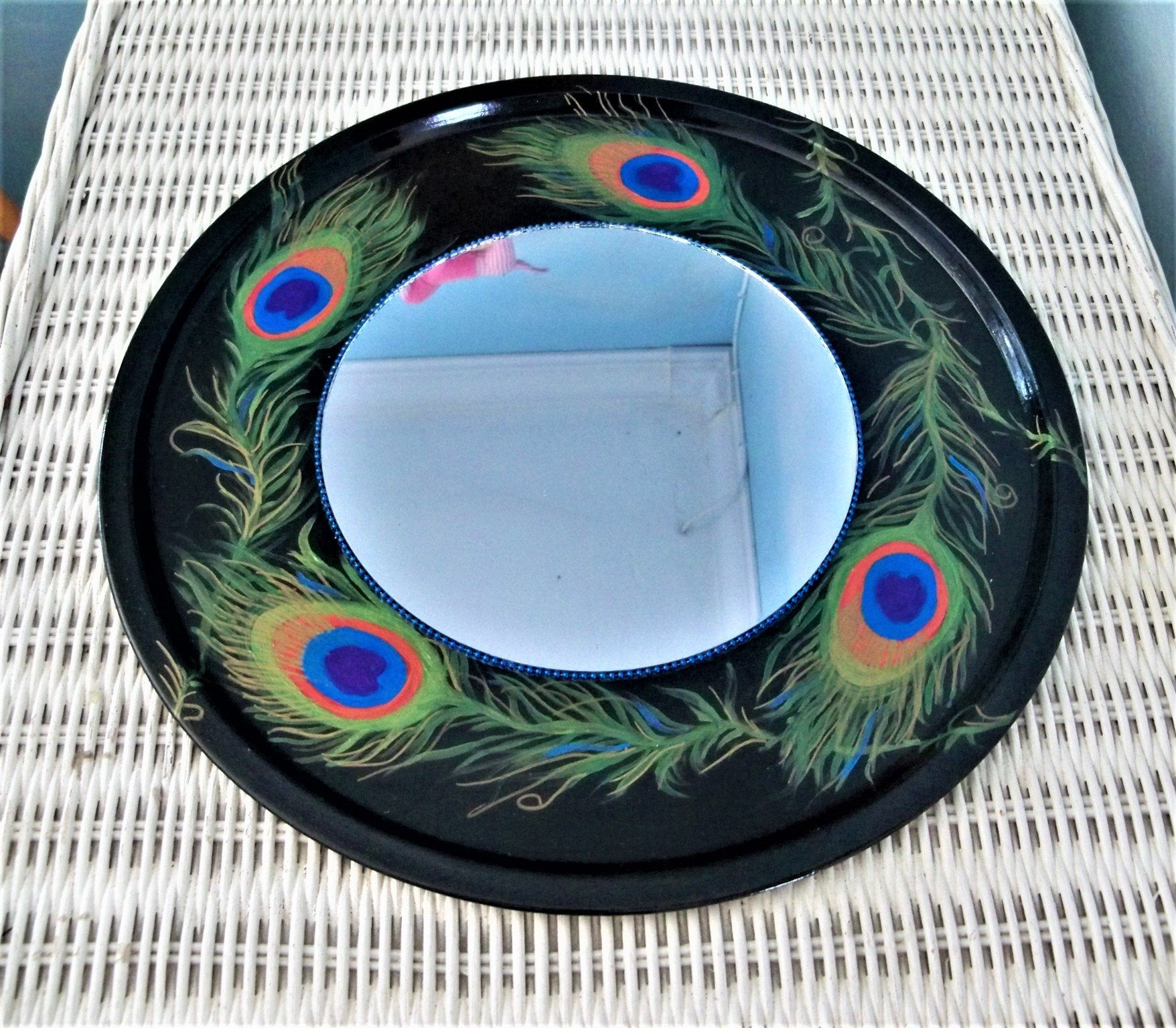 Decorative Accent Mirror, Peacock Wall Decor, Black Round Mirror, Hippie  Feather Mirror, Hand Painted Recycled, Eclectic Bedroom Mirror, Regarding Round Eclectic Accent Mirrors (Photo 27 of 30)