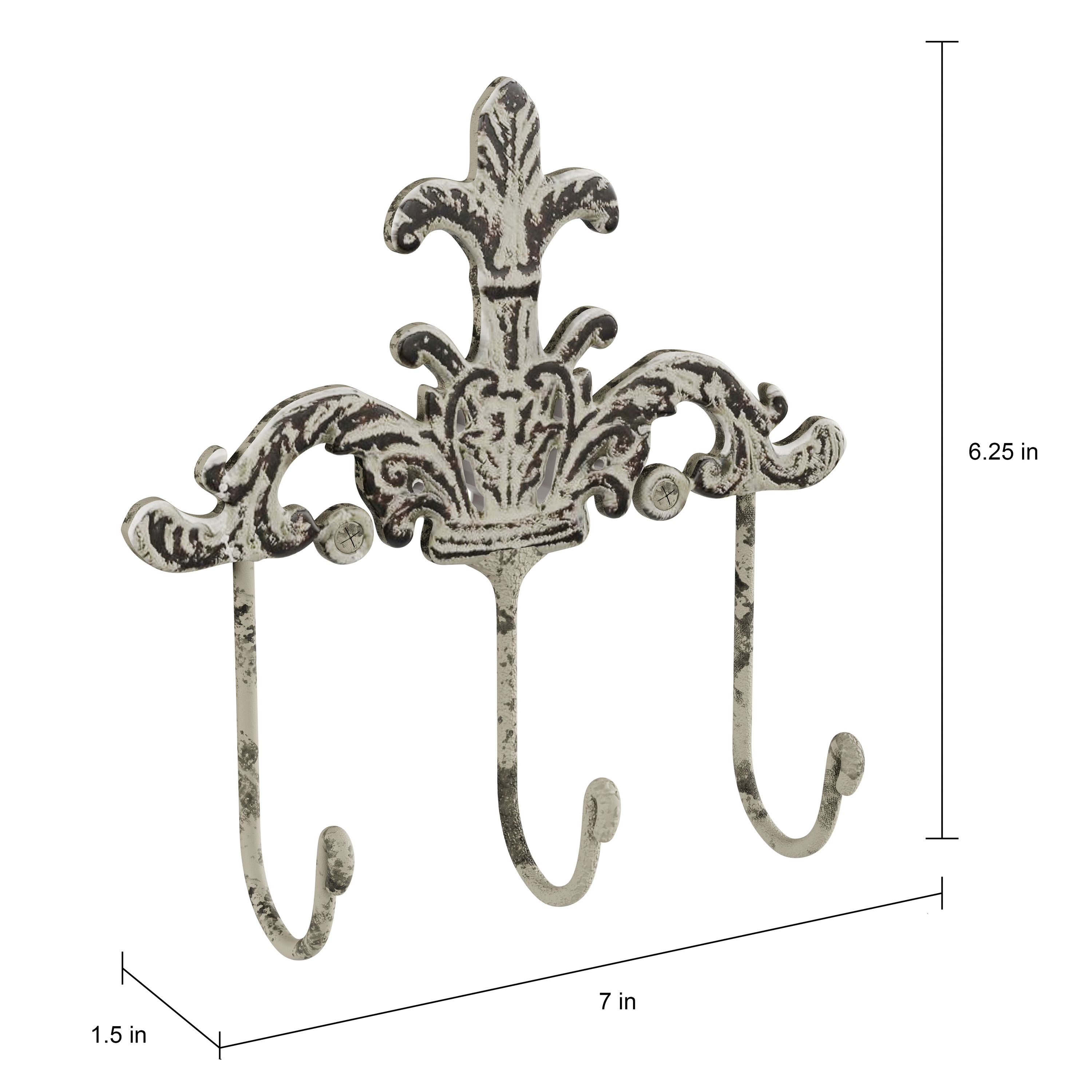 Decorative Hooks 3 Pronged Cast Iron Shabby Chic Rustic Fleur De Lis Wall Mount Hooks For Coats, Hats, Jewelry, And Morelavish Home (Set Of 2) For 2 Piece Metal Wall Decor Sets By Fleur De Lis Living (Gallery 25 of 30)