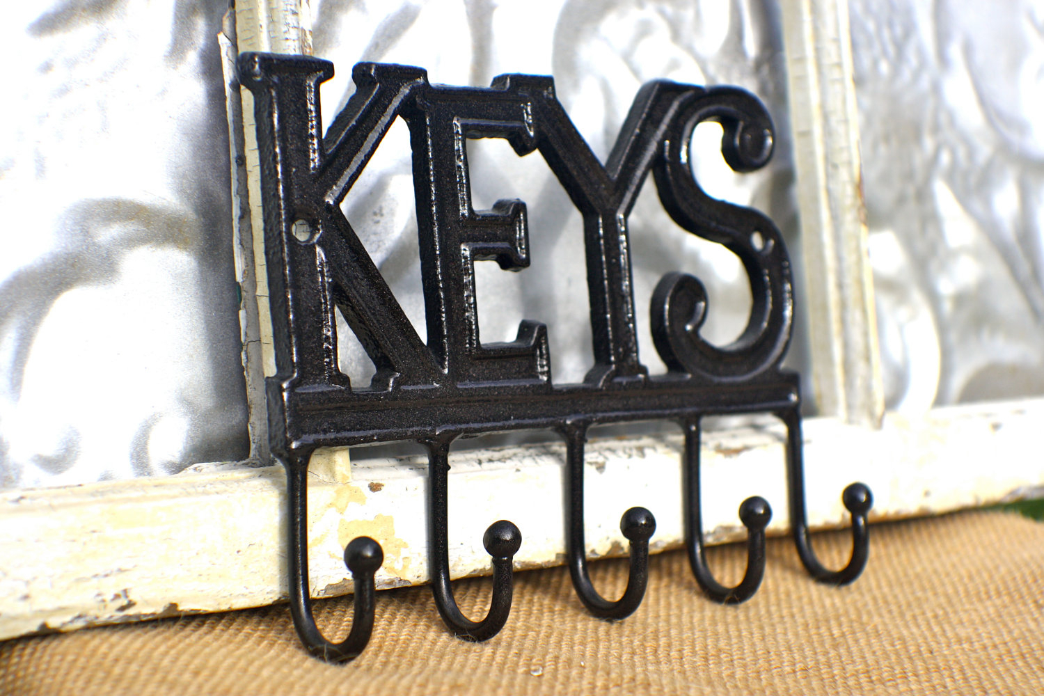 Decorative Key Hooks For Wall Hanging Black Vintage Metal Throughout Black Metal Key Wall Decor (View 12 of 30)