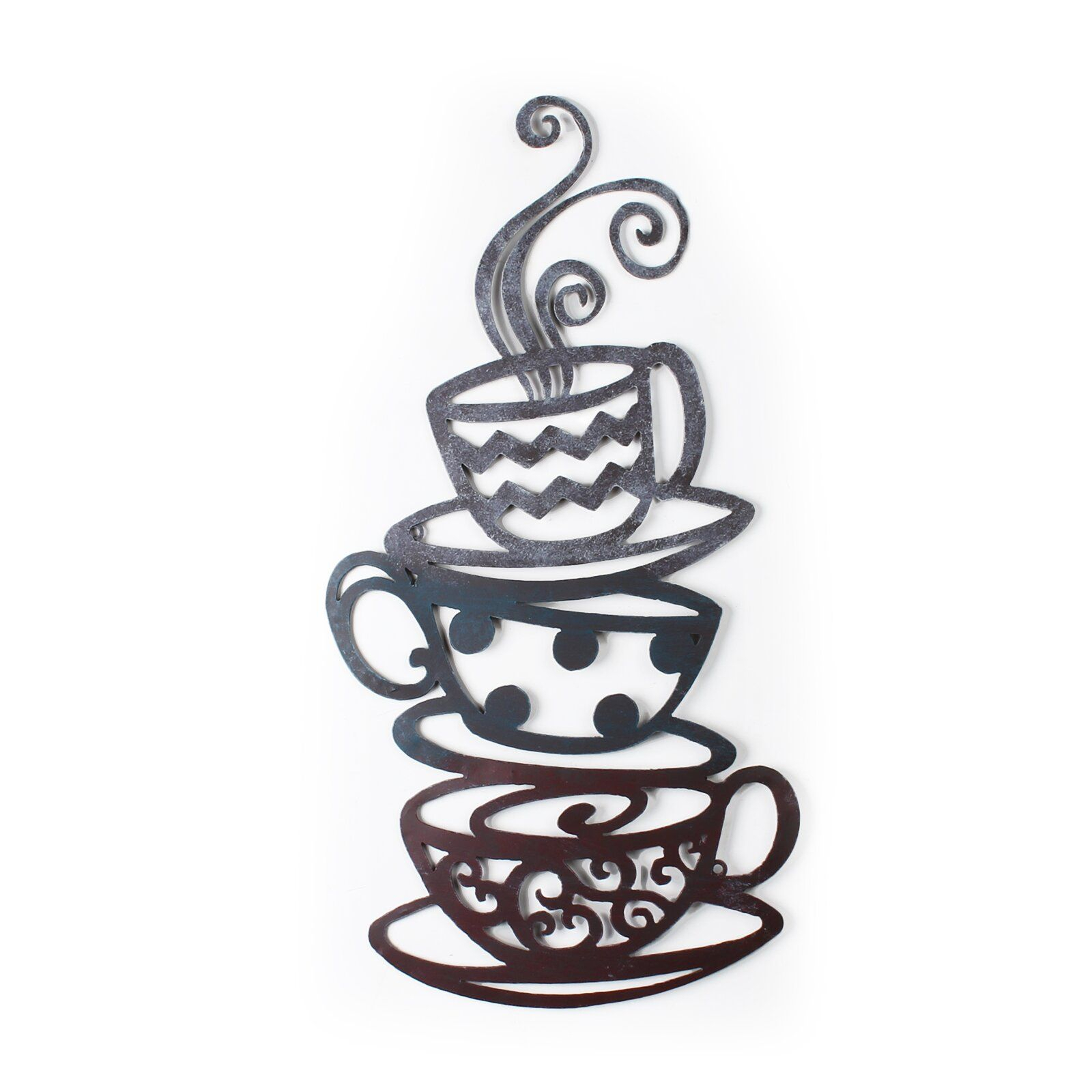 Decorative Three Stacked Coffee Tea Cups Iron Widget Wall in Decorative Three Stacked Coffee Tea Cups Iron Widget Wall Decor (Image 15 of 30)