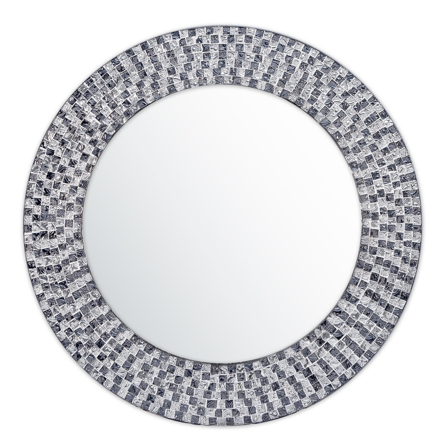 "Decorshore 20"" Jewel Tone Accent Mirror, Round Decorative Wall Mirror Embossed Glass Mosaic Tile Frame (onyx Black & Silver Topaz) With Regard To Silver Frame Accent Mirrors (View 18 of 30)"