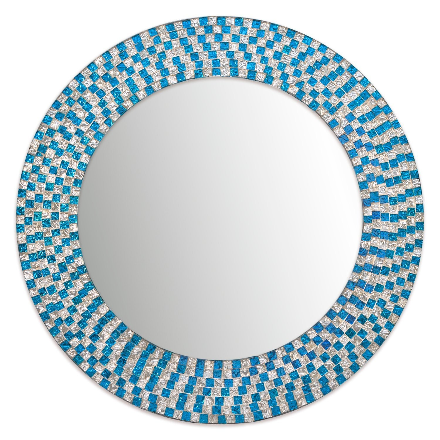 Decorshore Jewel Tone Accent Round Decorative Wall Mirror With Silver Frame Accent Mirrors (View 16 of 30)