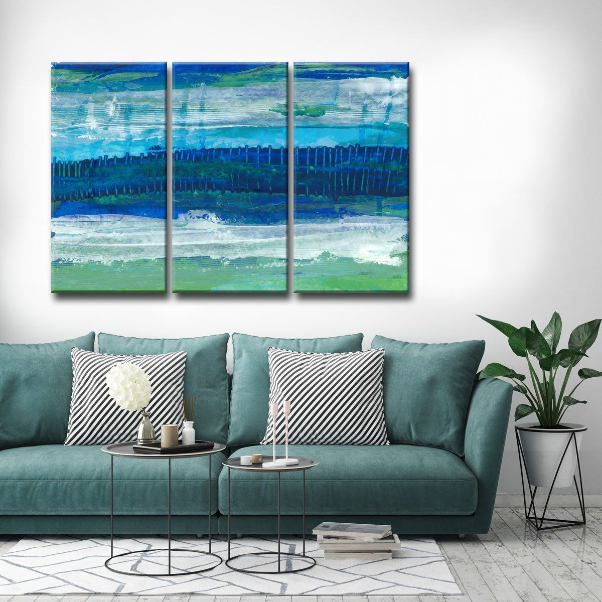Deeper Ocean Layers' 3 Pc Wrapped Canvas Abstract Wall Art With Tree Of Life Wall Decor By Red Barrel Studio (Photo 27 of 30)