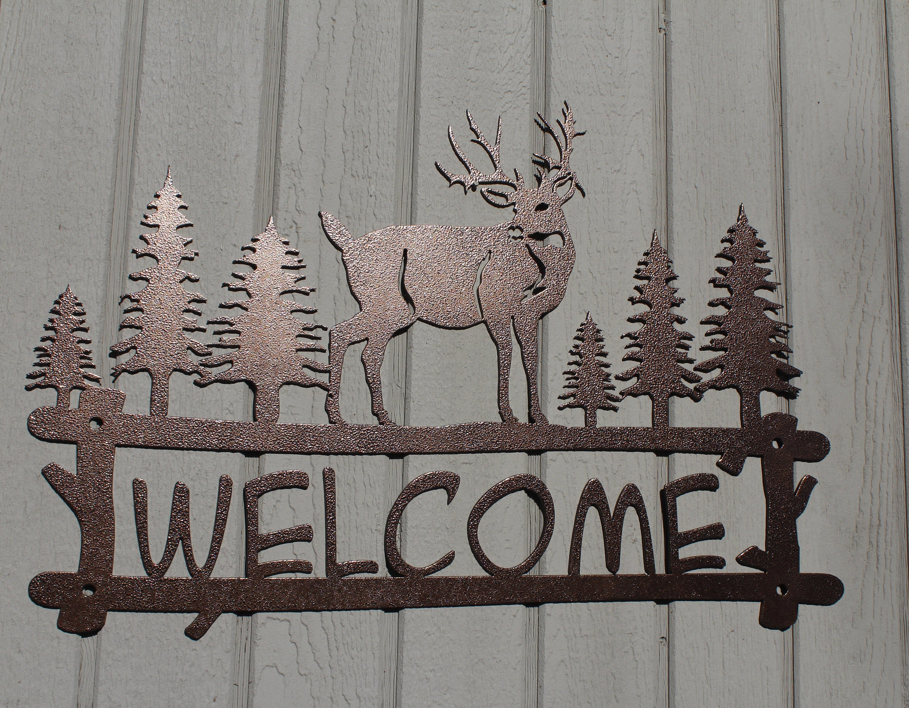 Deer And Trees Welcome Sign Metal Wall Art for Tree Welcome Sign Wall Decor (Image 6 of 30)