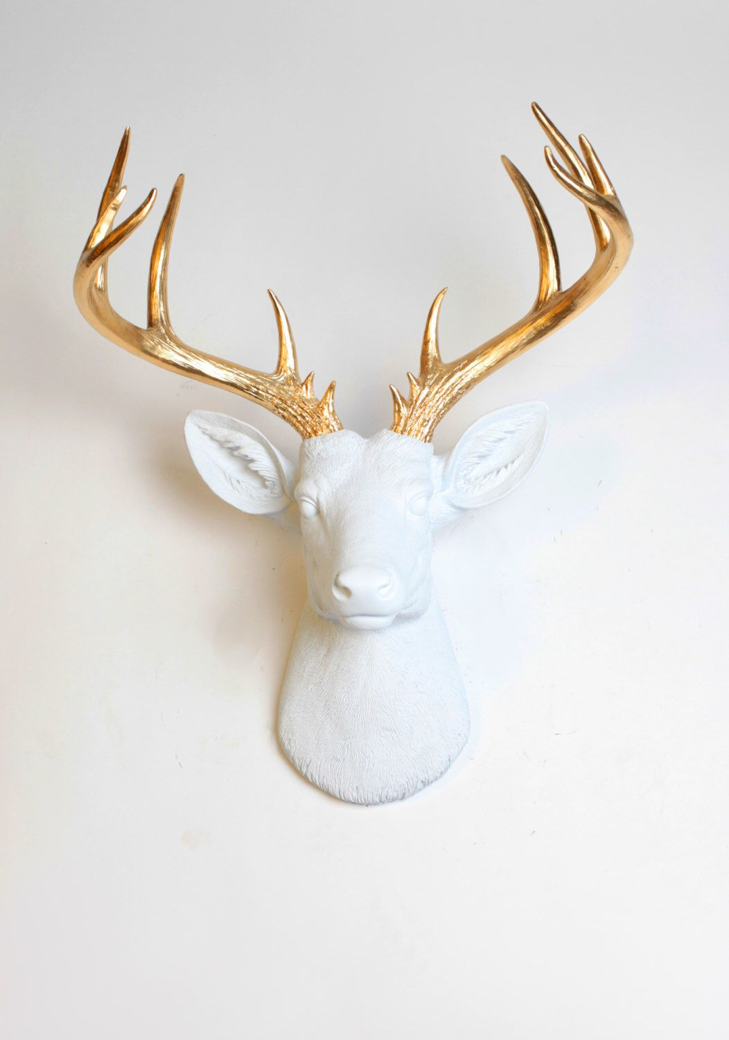 Deer Head Wall Mount Decor – The Xl Alfred – White And Gold For Large Deer Head Faux Taxidermy Wall Decor (Gallery 6 of 30)