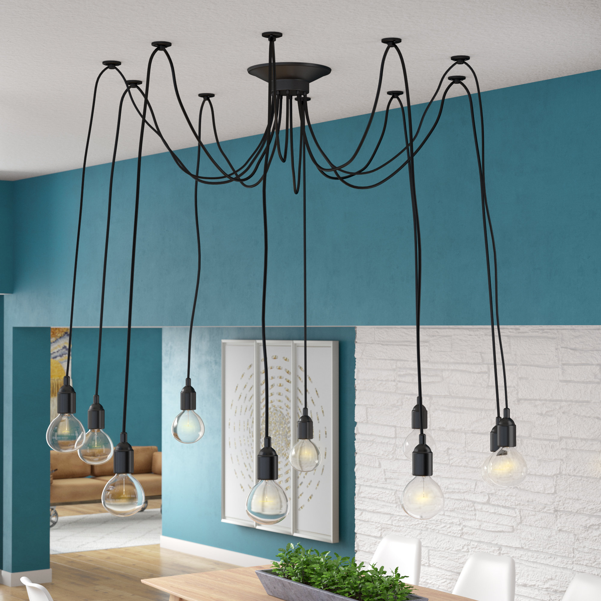 Defrancisco 10 Light Cluster Bulb Pendant In Gattilier 3 Light Cluster Pendants (Photo 14 of 30)