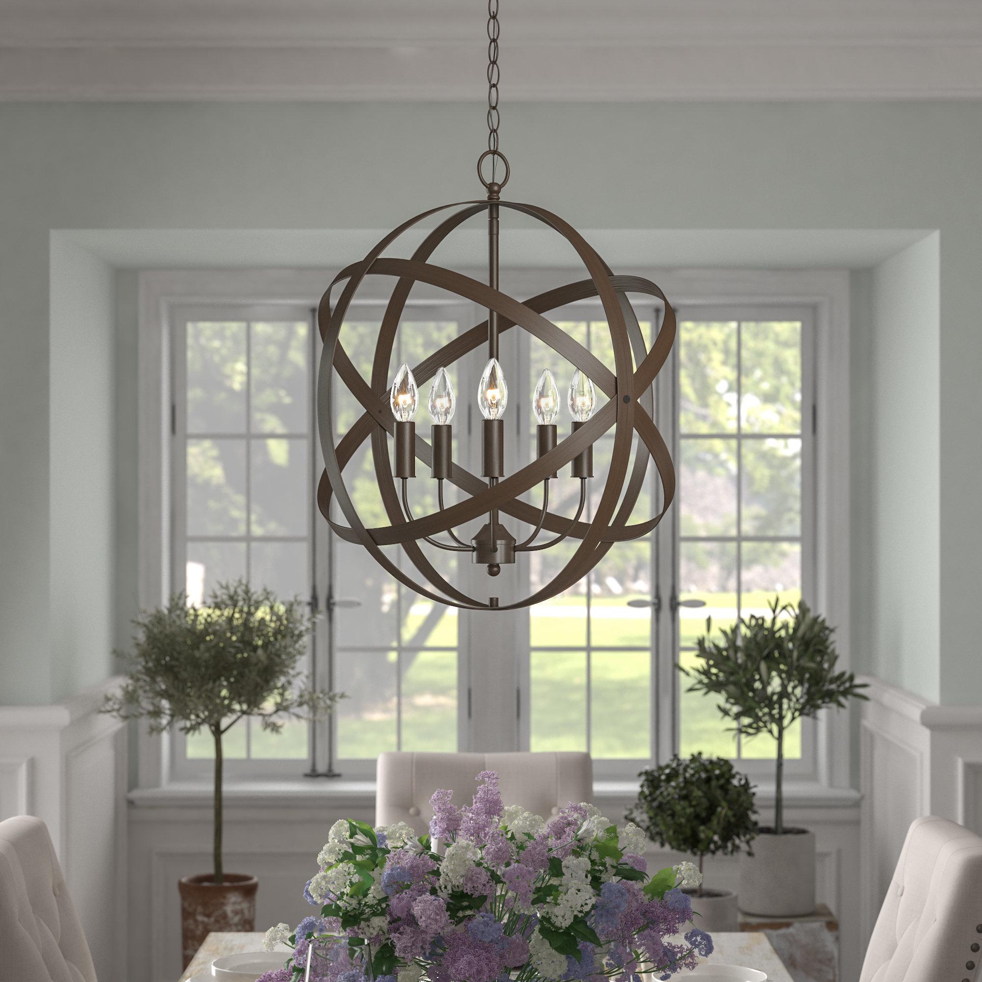 Della 5 Light Globe Chandelier Intended For Waldron 5 Light Globe Chandeliers (Gallery 6 of 30)
