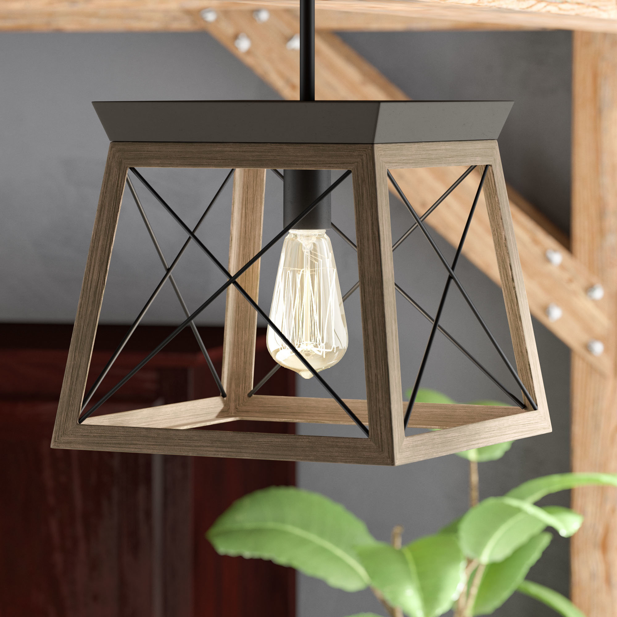 Delon 1 Light Lantern Geometric Pendant Intended For Delon 1 Light Lantern Geometric Pendants (Gallery 1 of 30)