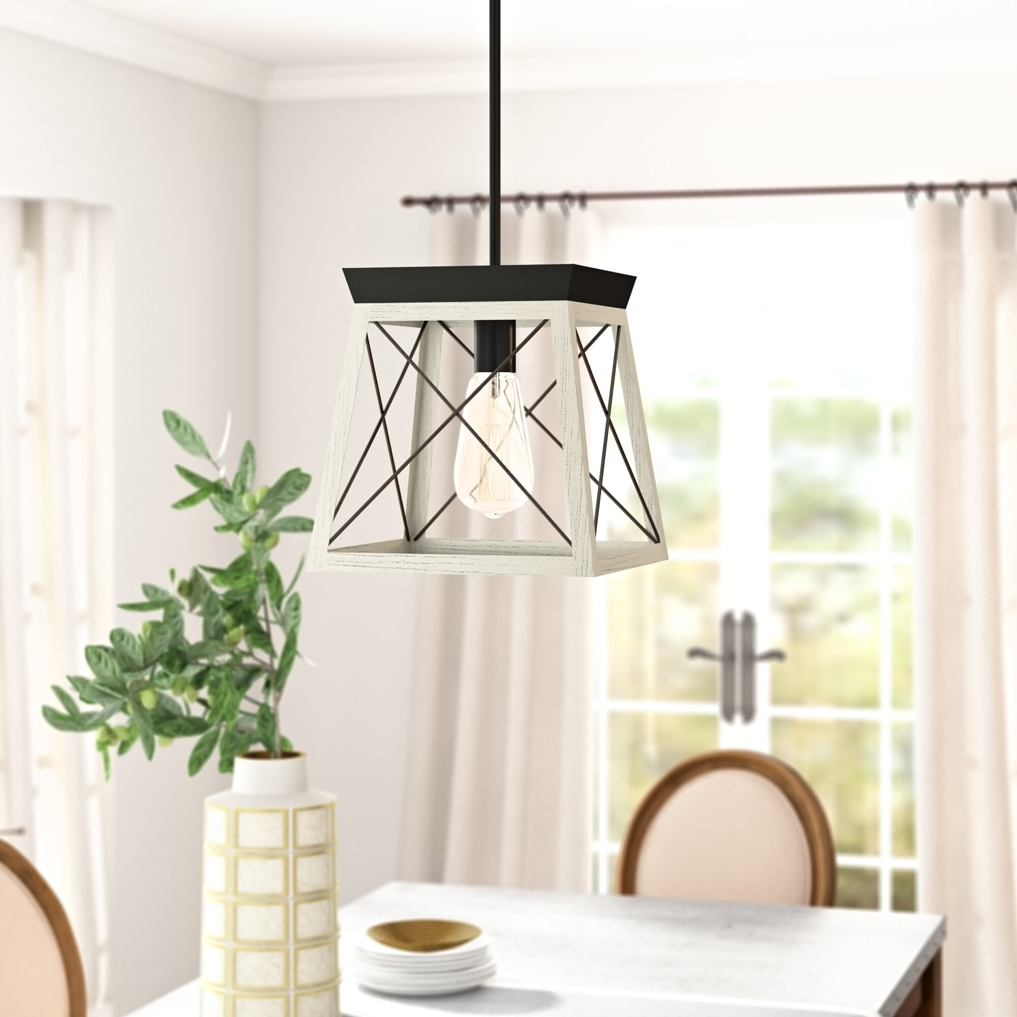 Delon 1 Light Lantern Geometric Pendant Regarding Delon 1 Light Lantern Geometric Pendants (Gallery 4 of 30)
