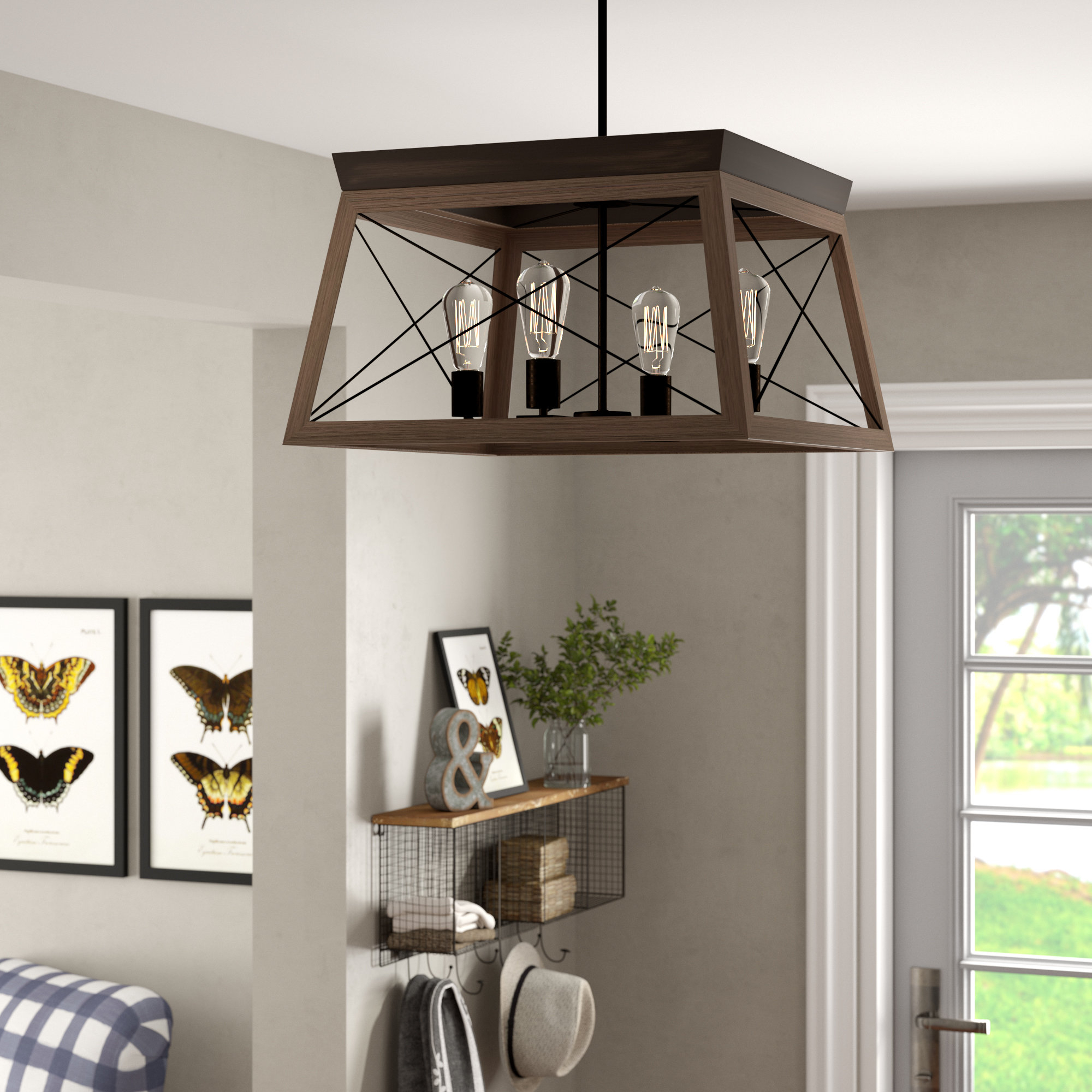 Featured Photo of Delon 4 Light Square Chandeliers