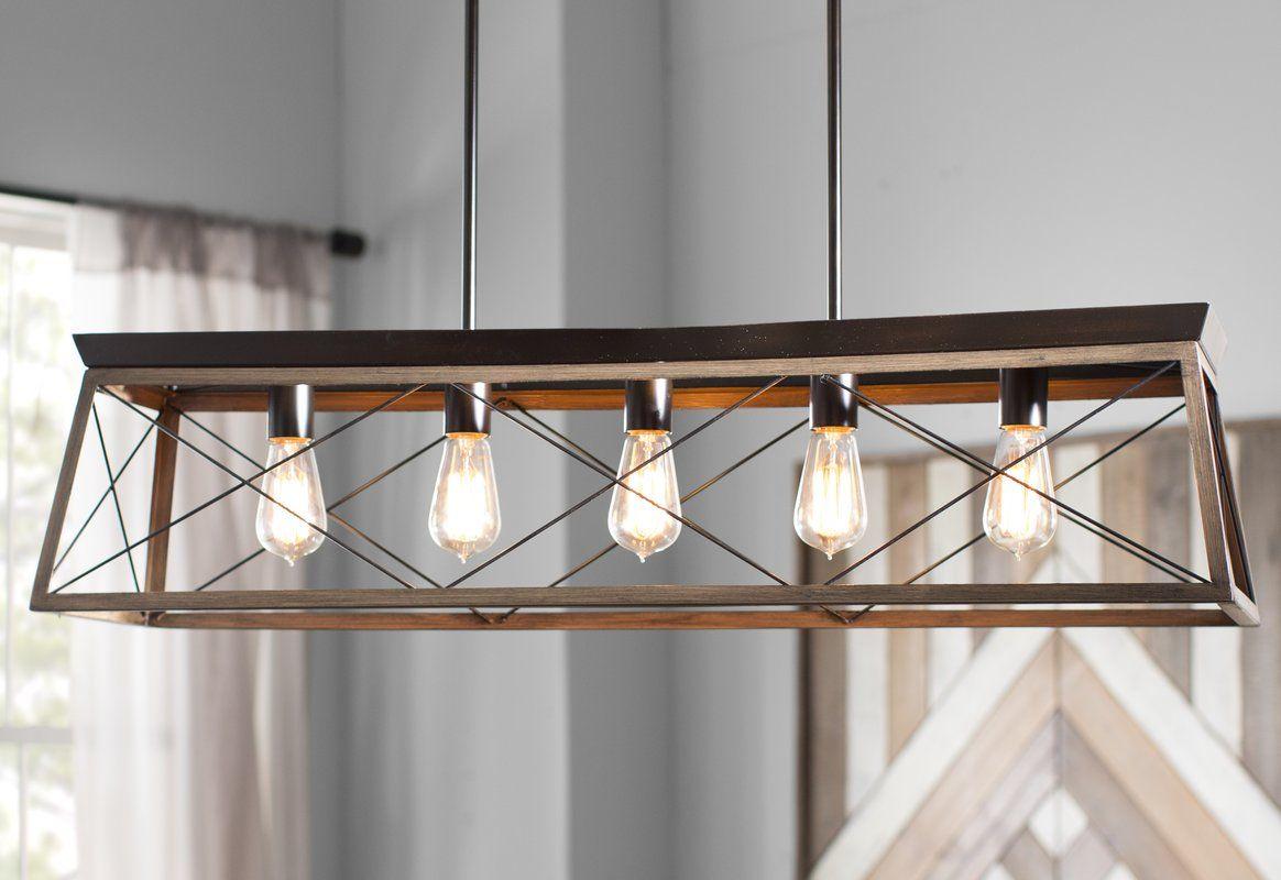 Delon 5 Light Kitchen Island Linear Pendant | Home Decor In In Delon 4 Light Square Chandeliers (Photo 9 of 30)