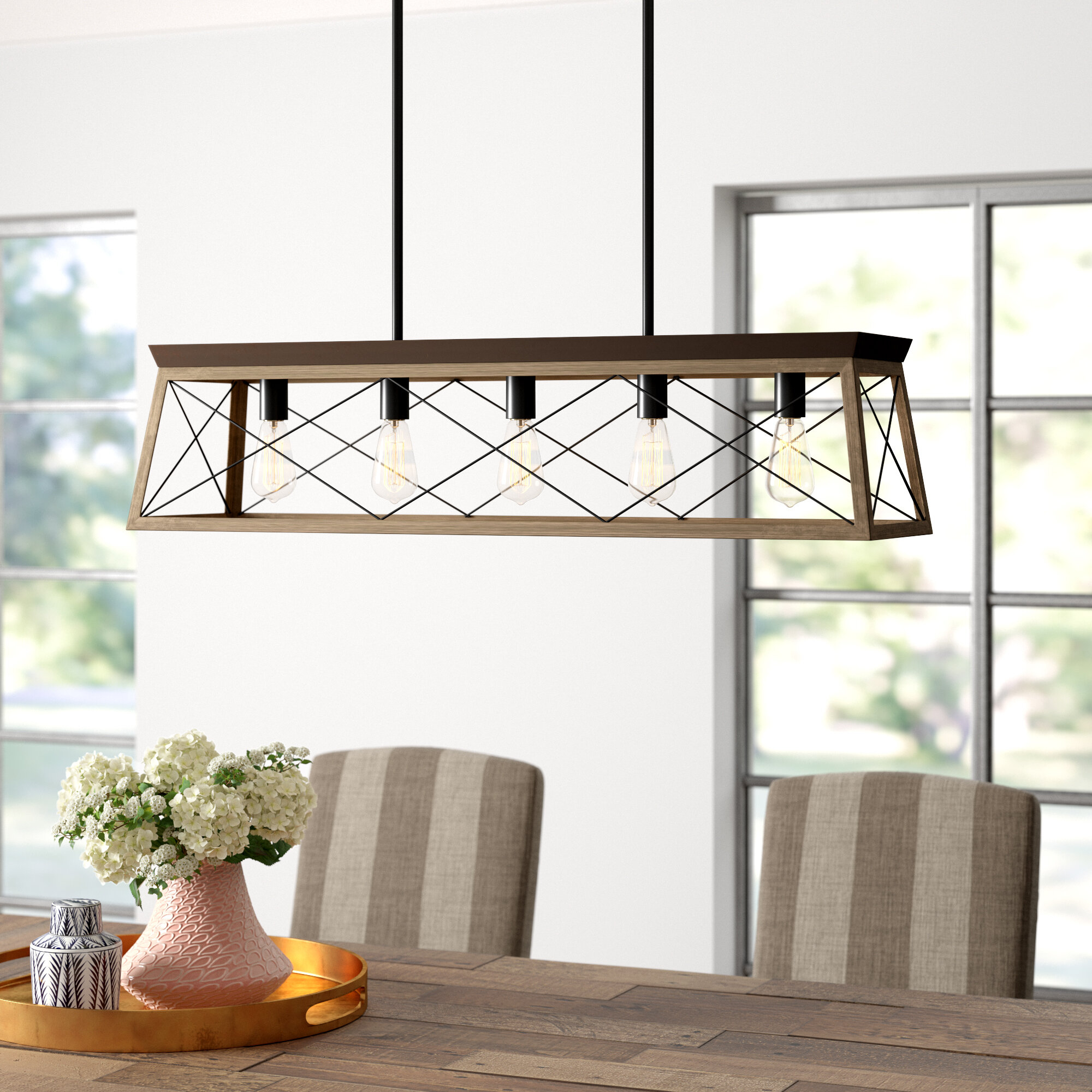 Delon 5 Light Kitchen Island Linear Pendant & Reviews | Joss With Delon 1 Light Lantern Geometric Pendants (View 8 of 30)