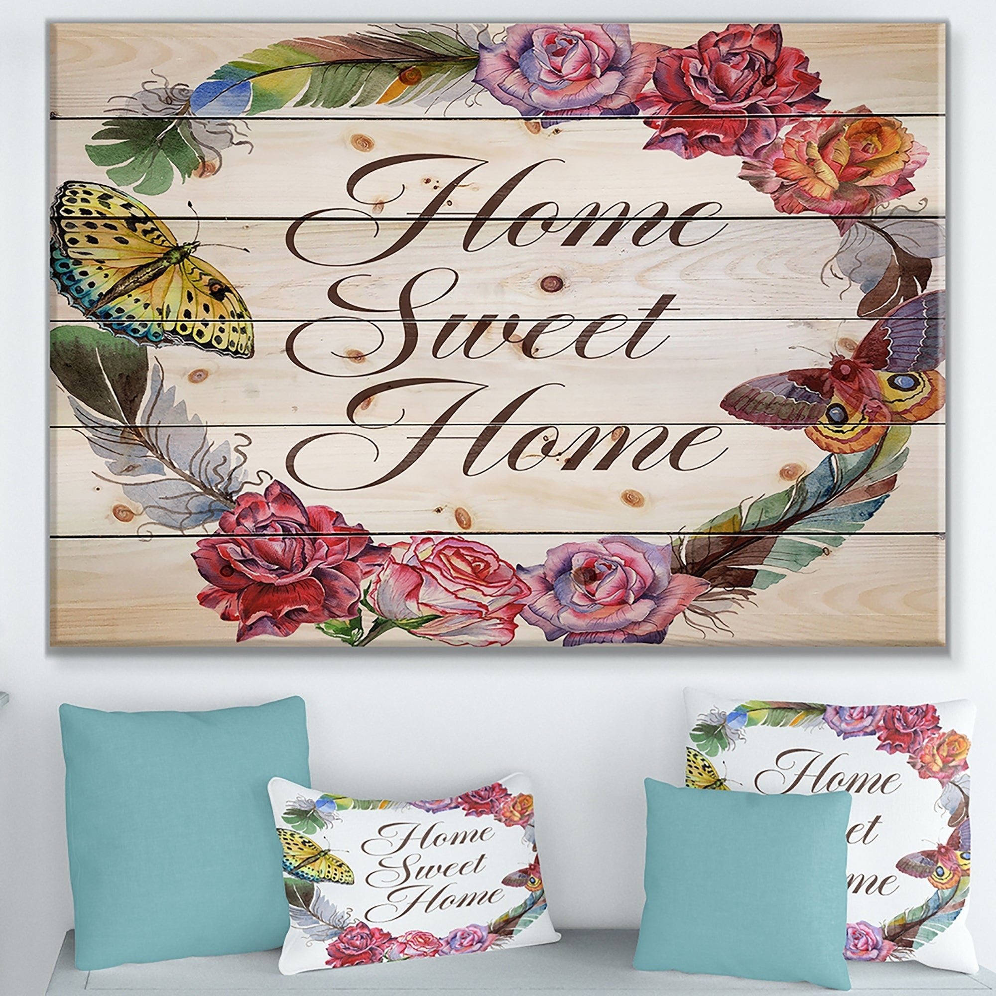 Designart 'home Sweet Home Butterfly Floral Wreath' Textual Entrance Art On  Wood Wall Art   Multi Color For Floral Wreath Wood Framed Wall Decor (Photo 17 of 30)