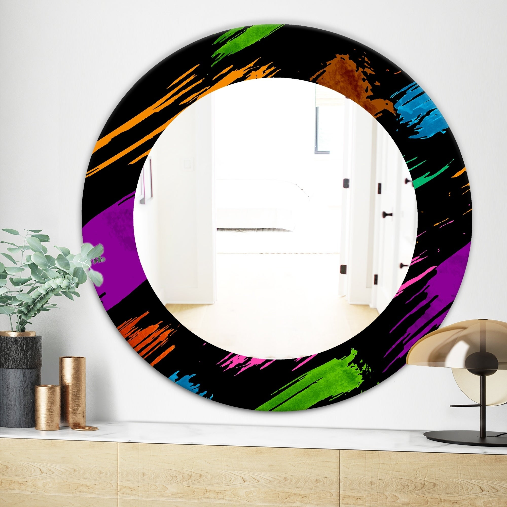 Designart 'obsidian Impressions 6' Bohemian And Eclectic Mirror   Frameless  Oval Or Round Wall Mirror   Purple In Round Eclectic Accent Mirrors (Photo 13 of 30)