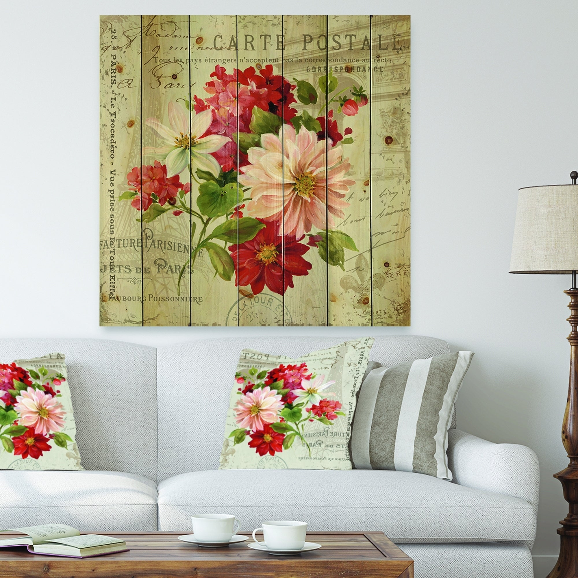 Designart 'red Painted Flowers On Vintage Postcard Ii' Farmhouse Print On Natural Pine Wood – Pink/red Regarding Latour Wall Decor (Gallery 27 of 30)