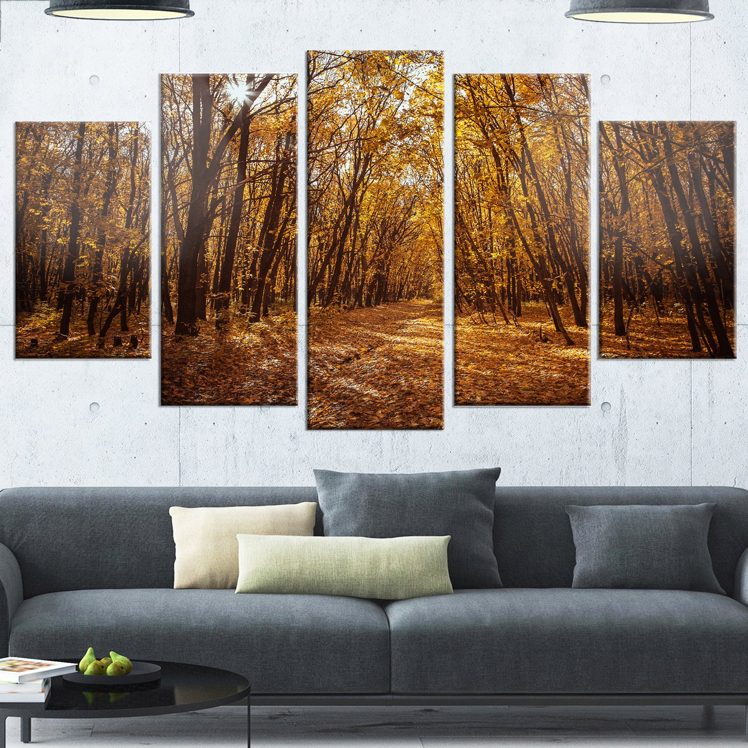 Designart 'sunset In Yellow Autumn Forest' Modern Forest Glossy Metal Wall Art For Contemporary Forest Metal Wall Decor (View 15 of 30)