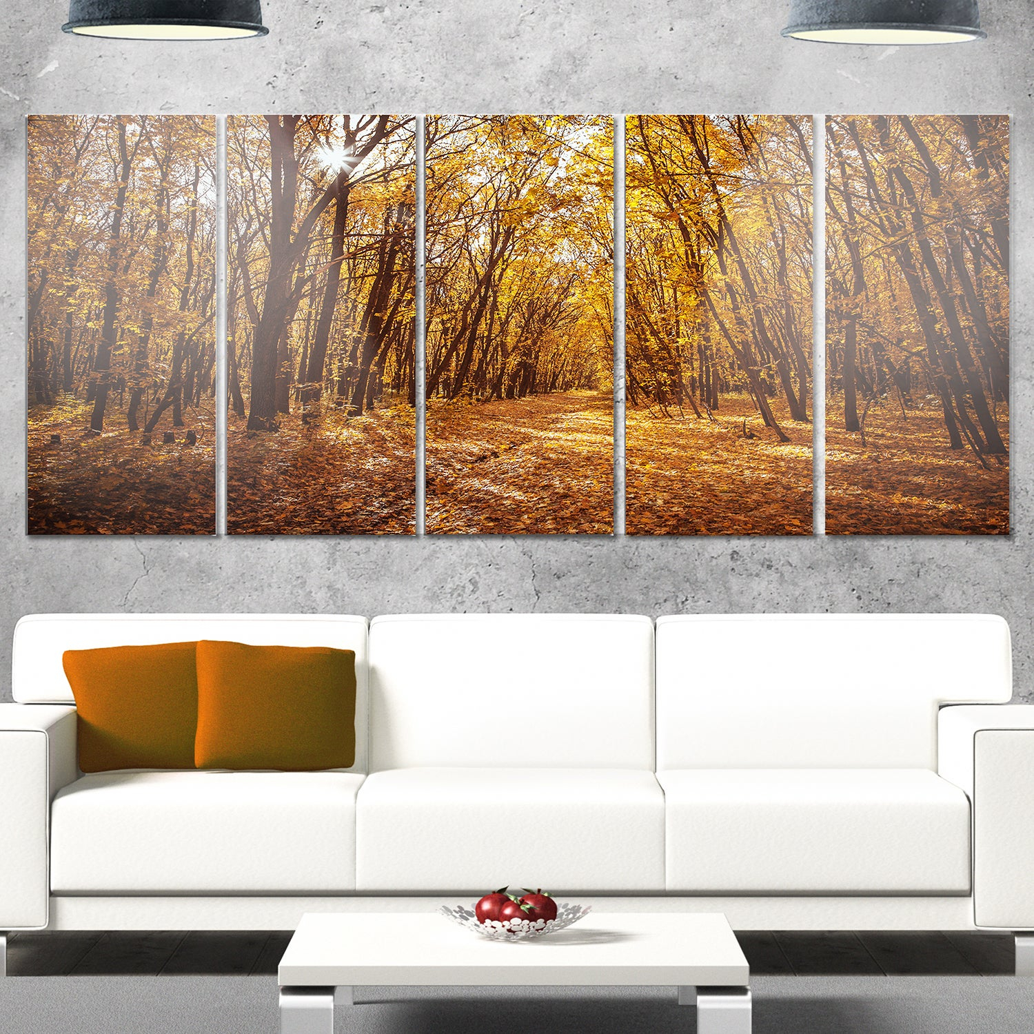 Designart 'sunset In Yellow Autumn Forest' Modern Forest Glossy Metal Wall Art With Contemporary Forest Metal Wall Decor (View 3 of 30)