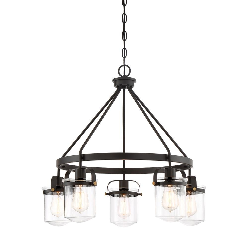 Designers Fountain Jaxon 5 Light Oil Rubbed Bronze Interior Chandelier With Clear Glass Shade Regarding Florentina 5 Light Candle Style Chandeliers (View 18 of 30)