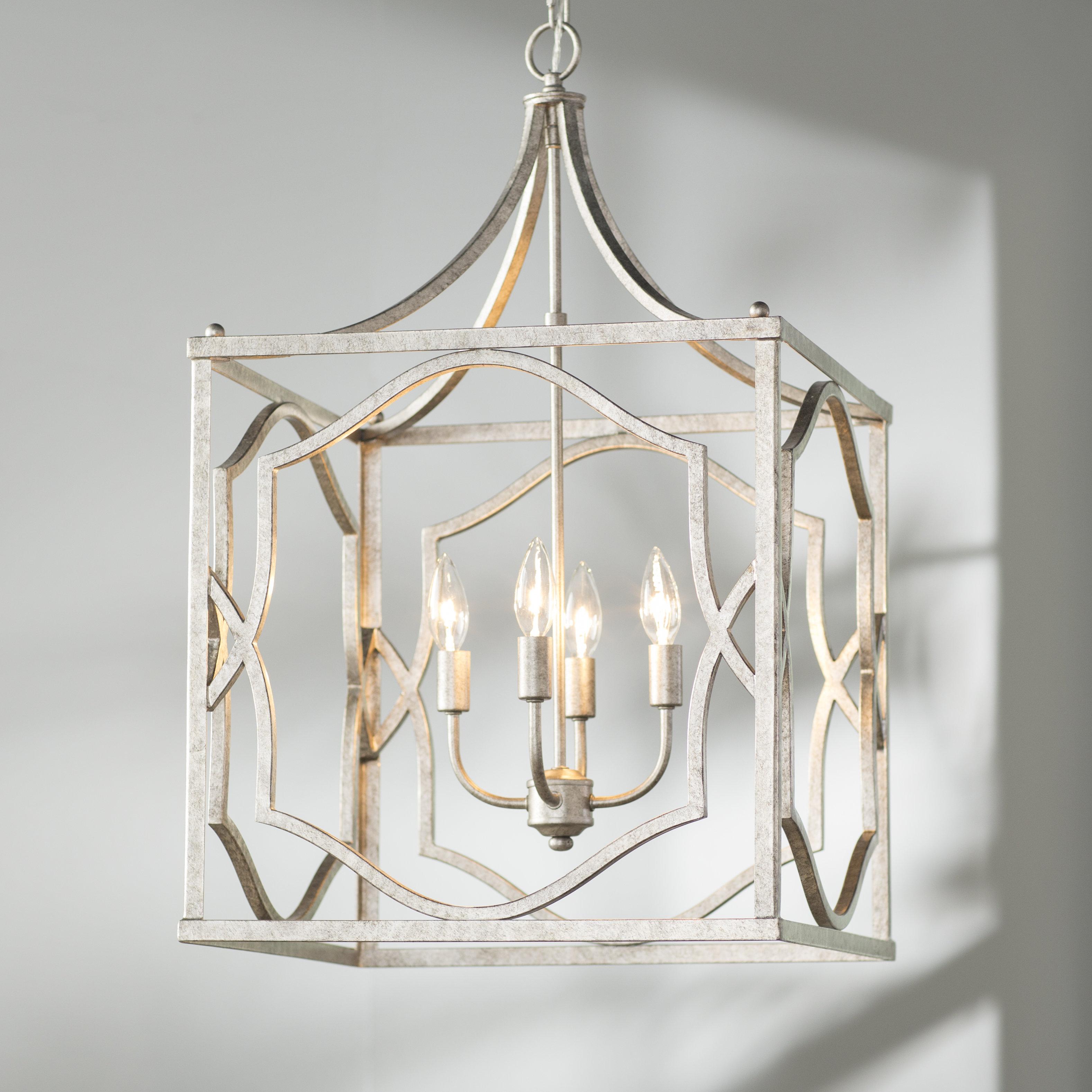 Destrey 4 Light Lantern Square / Rectangle Pendant Pertaining To 4 Light Lantern Square / Rectangle Pendants (View 11 of 30)