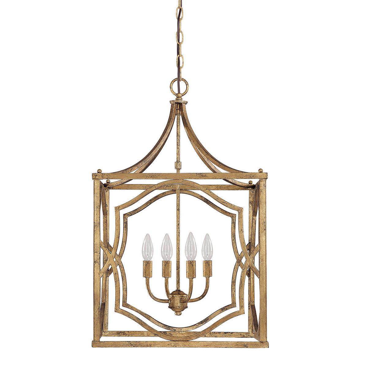 Destrey 4 Light Lantern Square / Rectangle Pendant Regarding Destrey 3 Light Lantern Square/rectangle Pendants (Gallery 5 of 30)