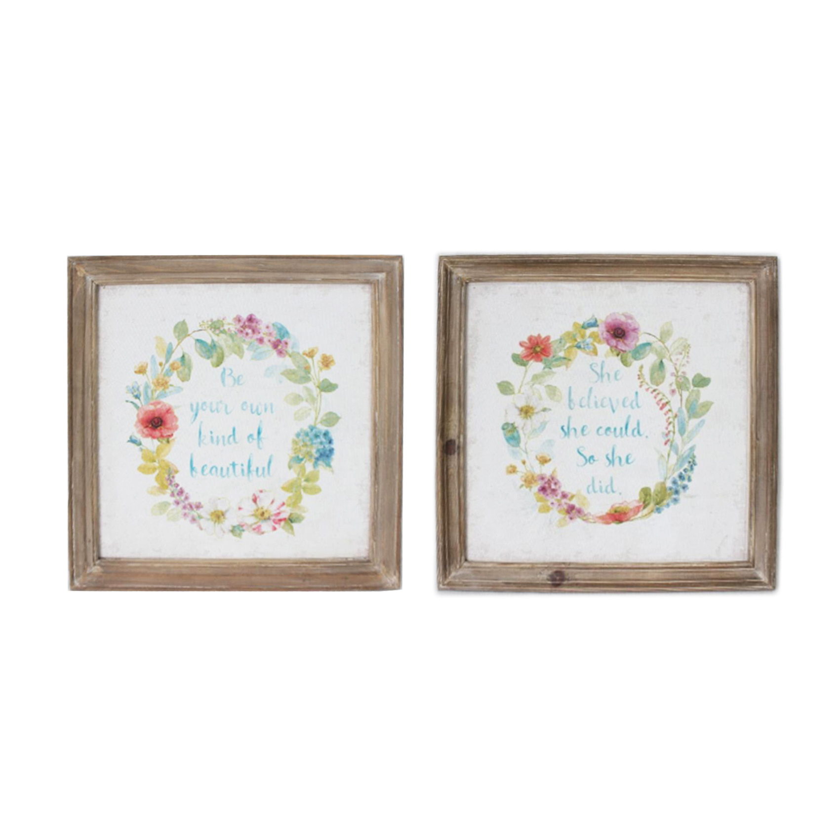 Details About 2X Shabby Chic Wooden Framed Floral Wreath Canvas Print  Picture Wall Art With Floral Wreath Wood Framed Wall Decor (Photo 6 of 30)