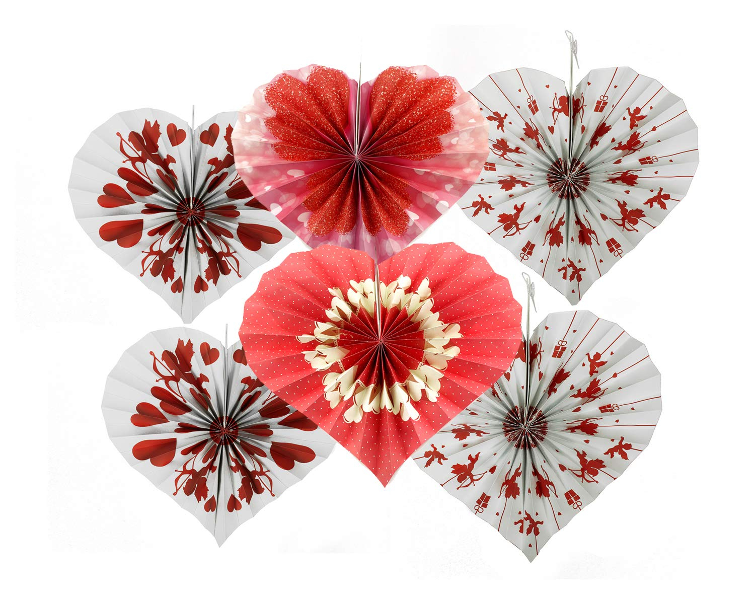 Details About 6Pc Valentines Day Red White Cupid Heart Shaped Hanging Fans  Party Decorations In 2 Piece Heart Shaped Fan Wall Decor Sets (Photo 28 of 30)